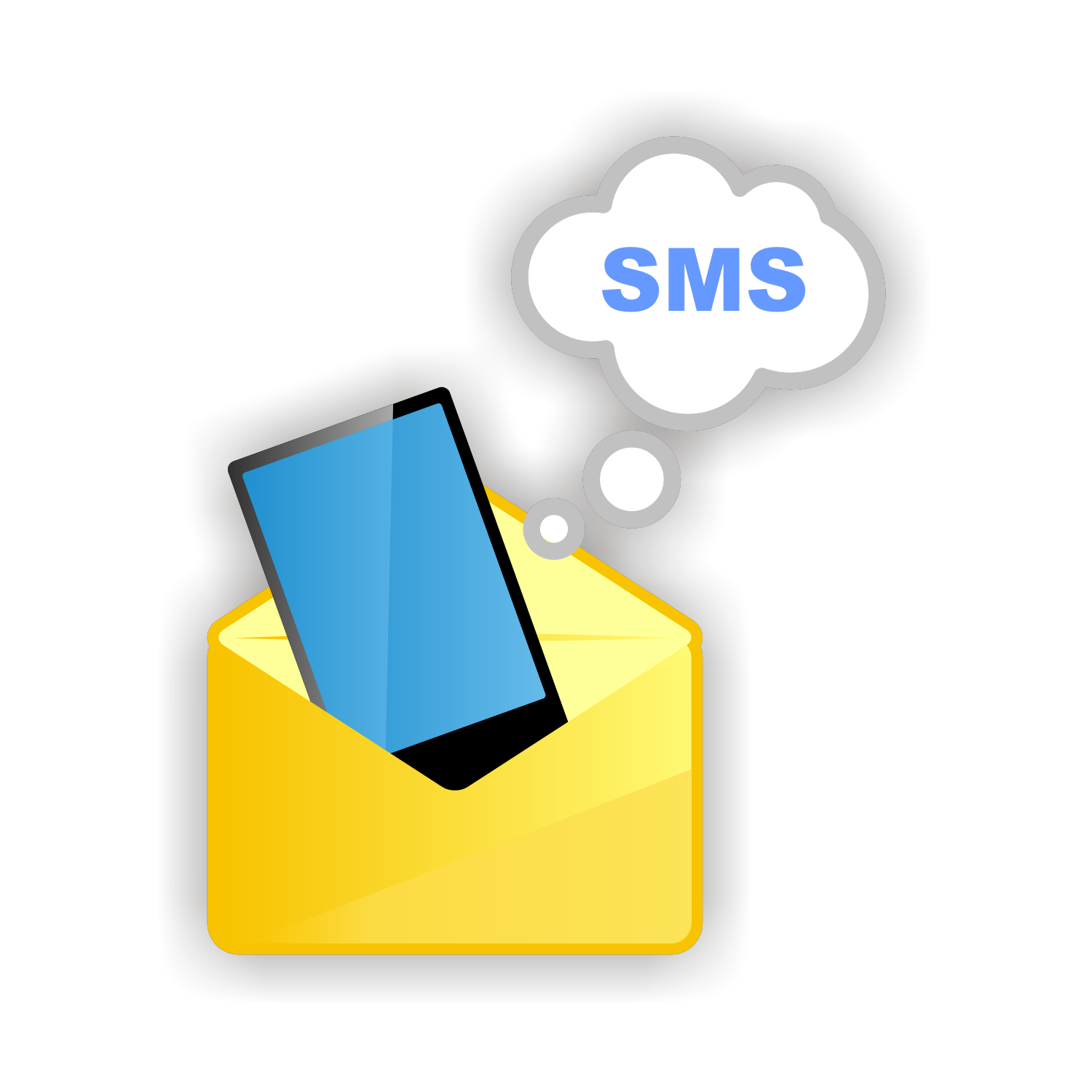 Sms icon isolated on white. Vector illustration.