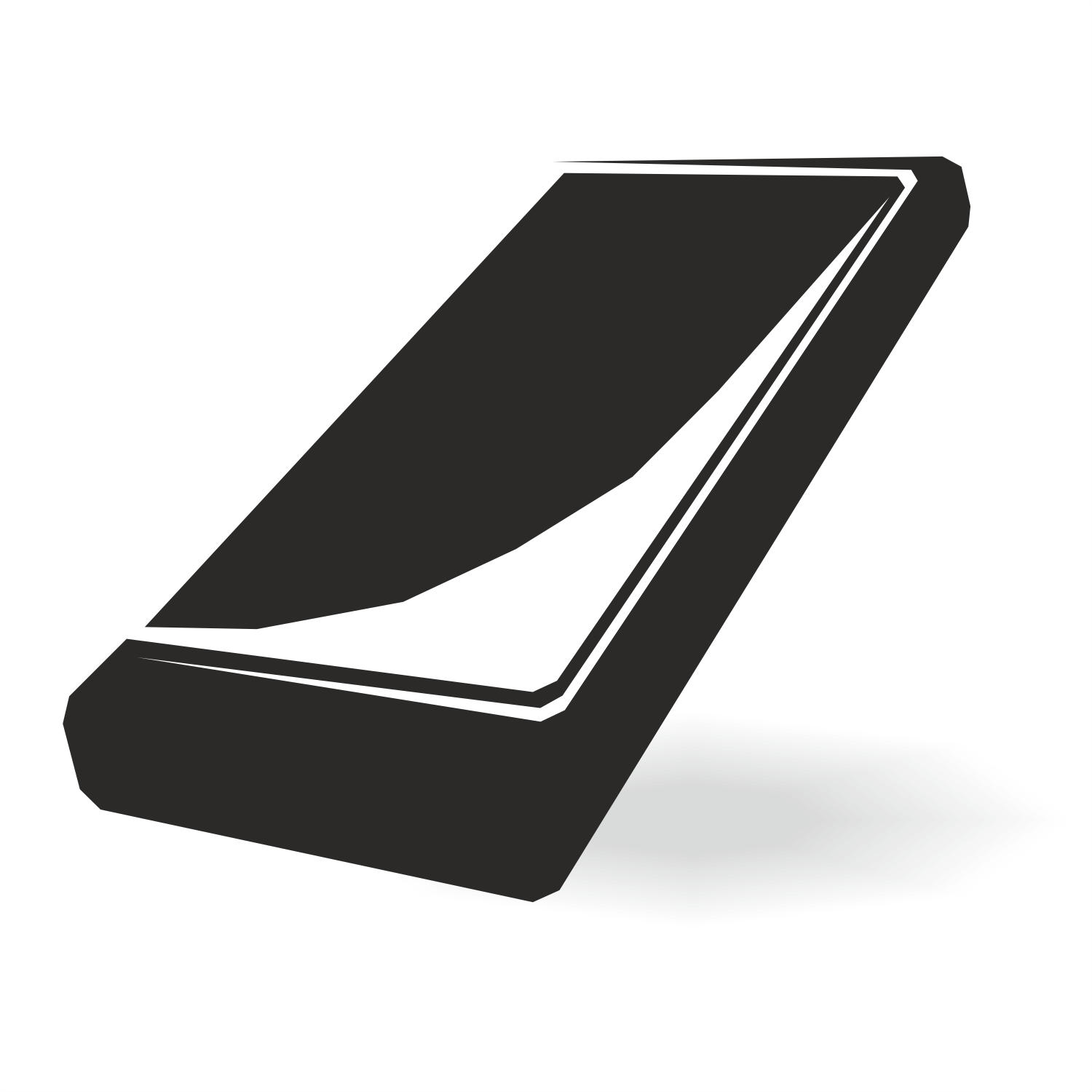 Black phone on white background. Vector graphics.