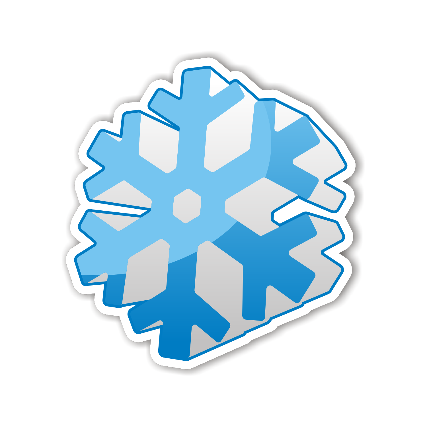3d snowflake icon. Free vector illustration
