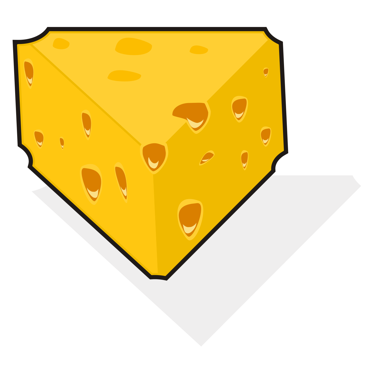 3D vector illustration of a slice of cheese