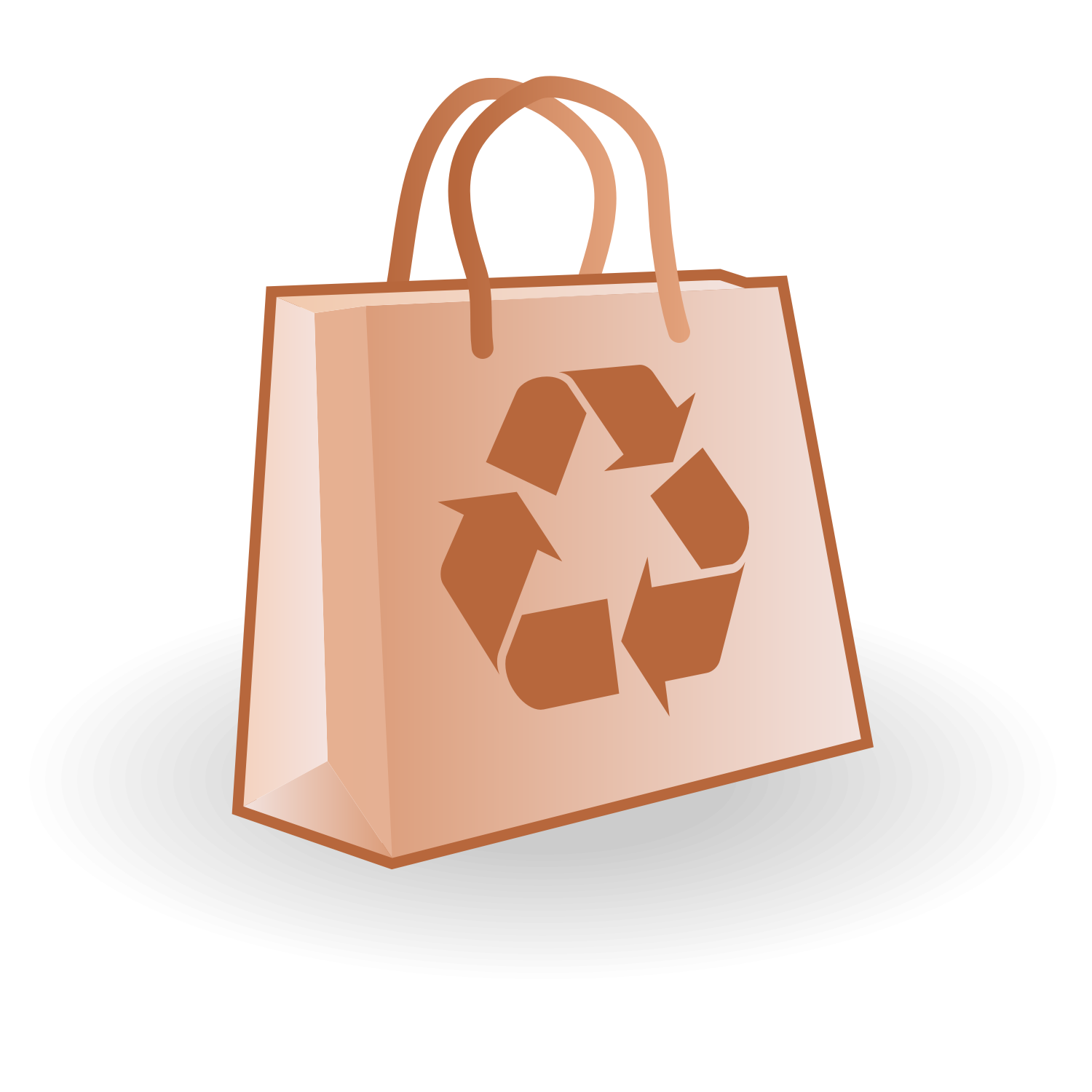 Paper bag with recycle sign. Free vector illustration.