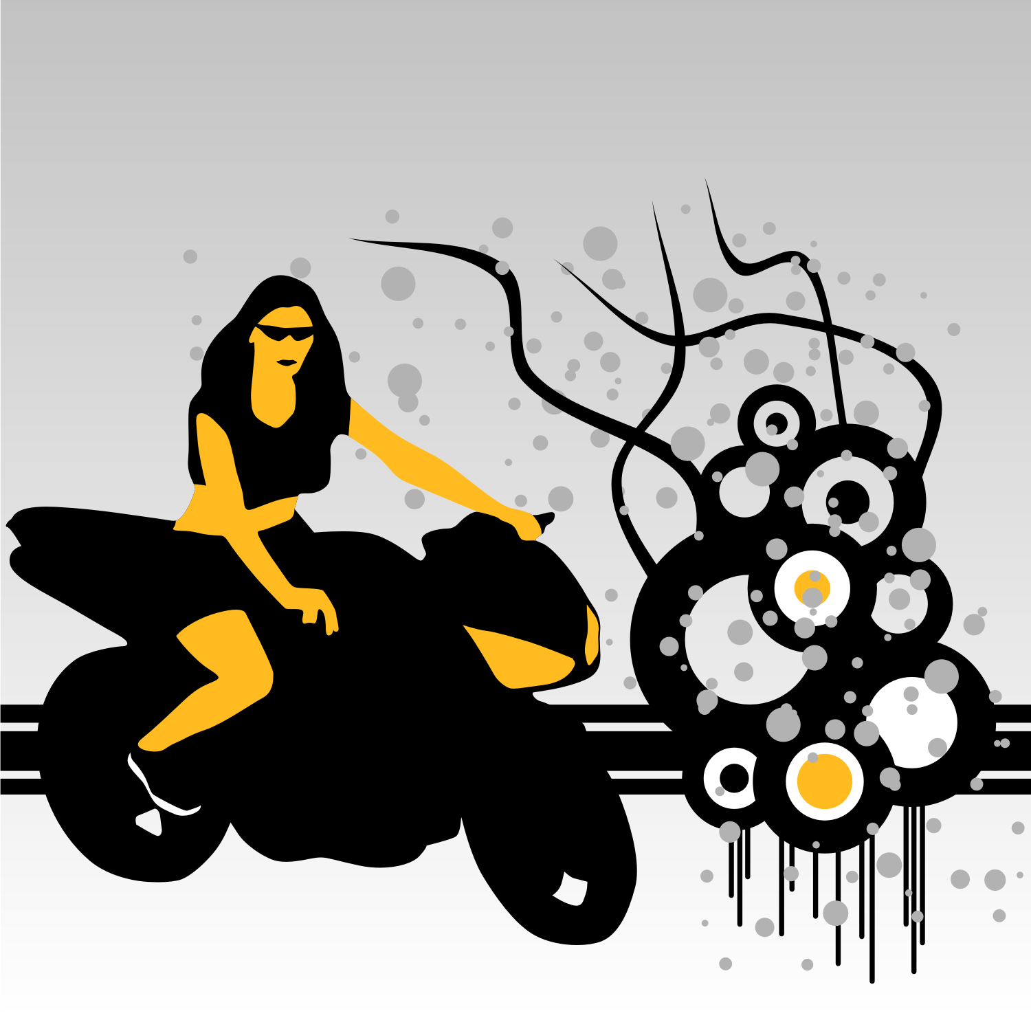 Woman on motorcycle vector