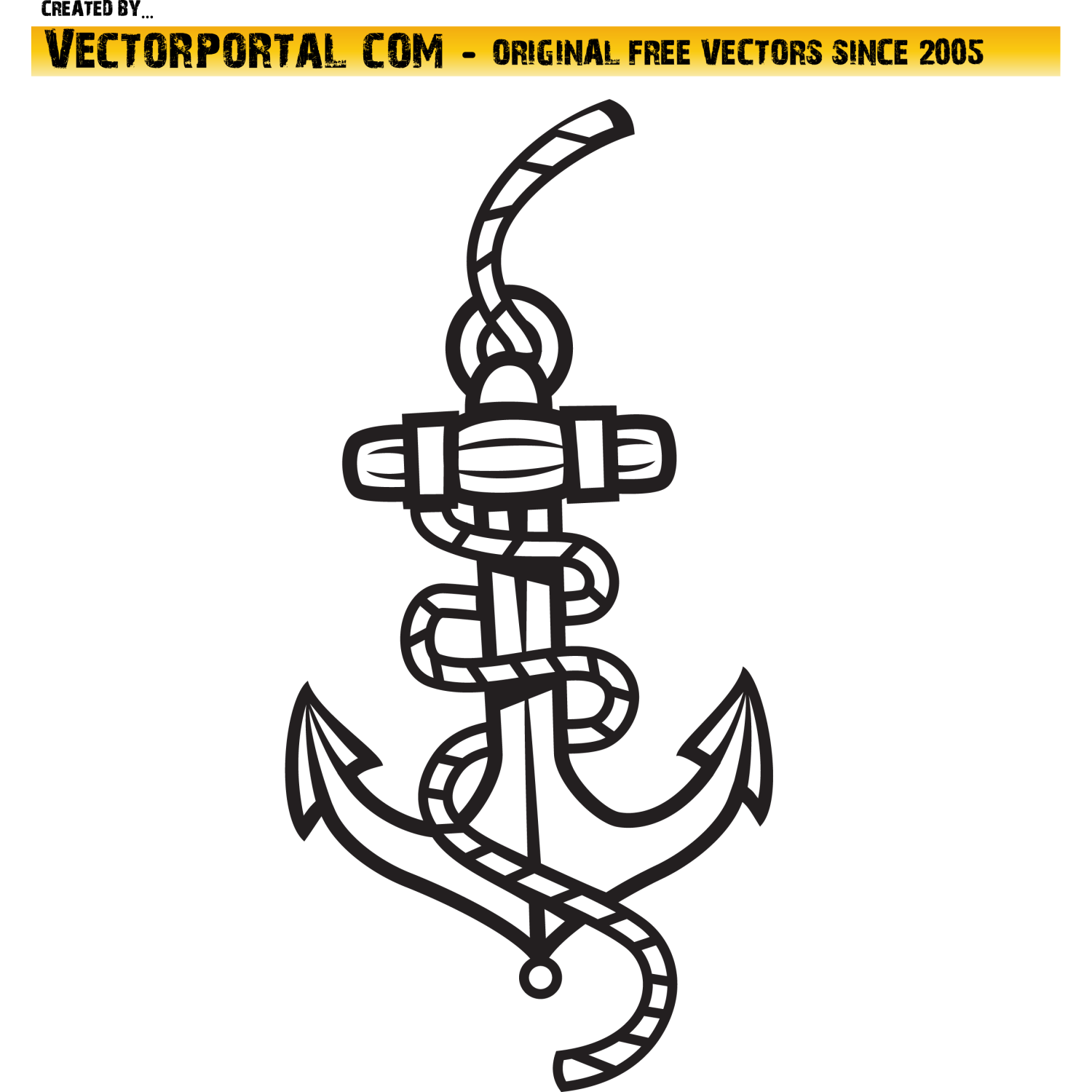 Anchor and rope vector image.