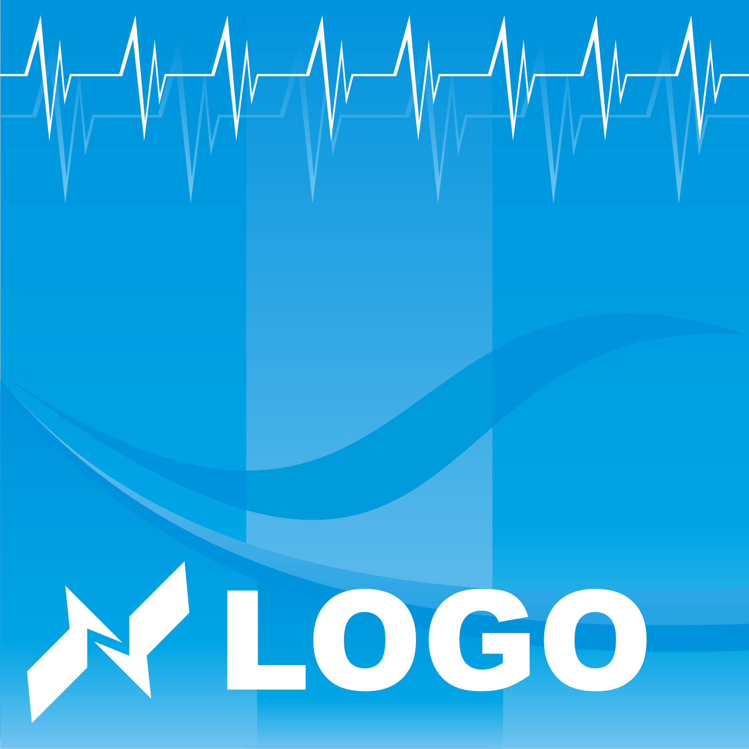Electric logo on a blue background. Free vector template
