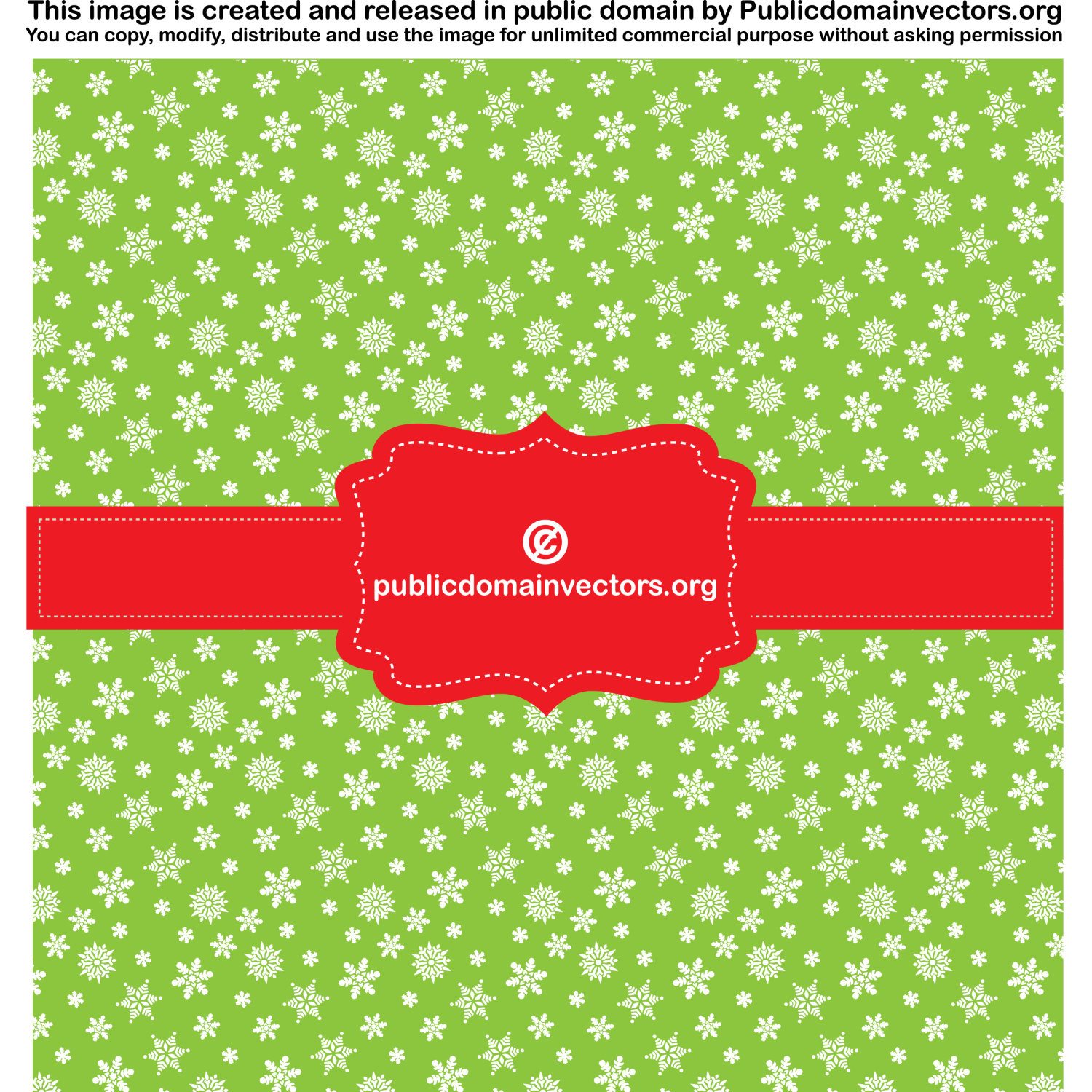 Green background with pattern and red ribbon