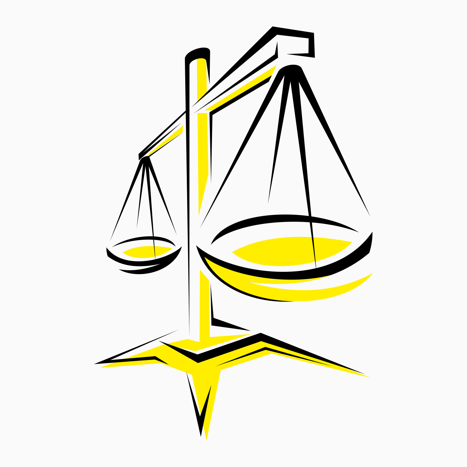 Balancing scale or scales of justice. Vector illustration