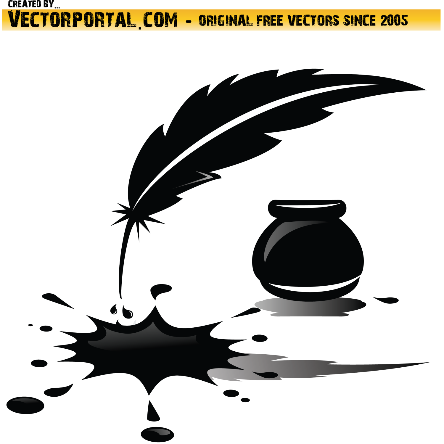 Spilled Ink and Feather Vector