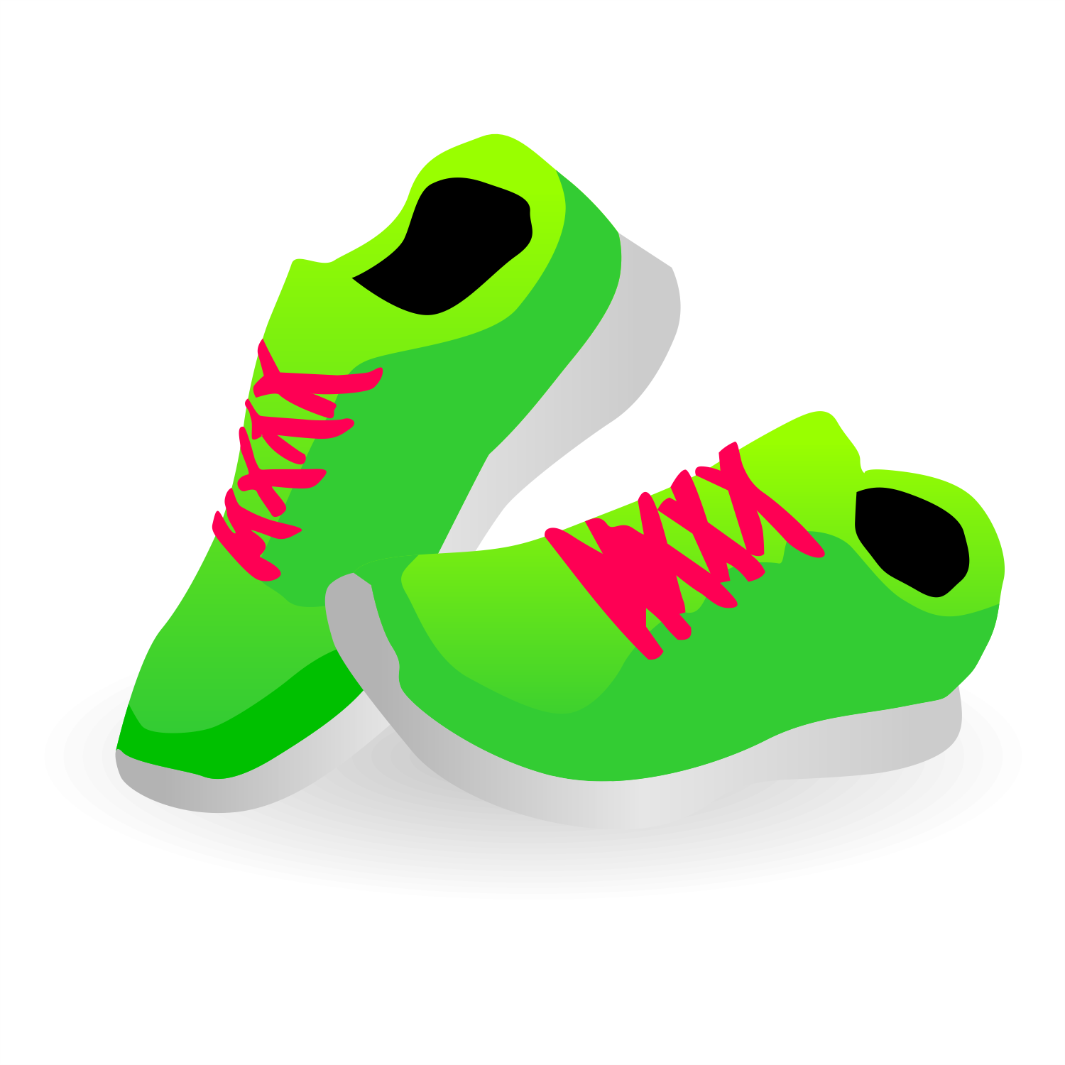 Green sneakers. Vector illustration.