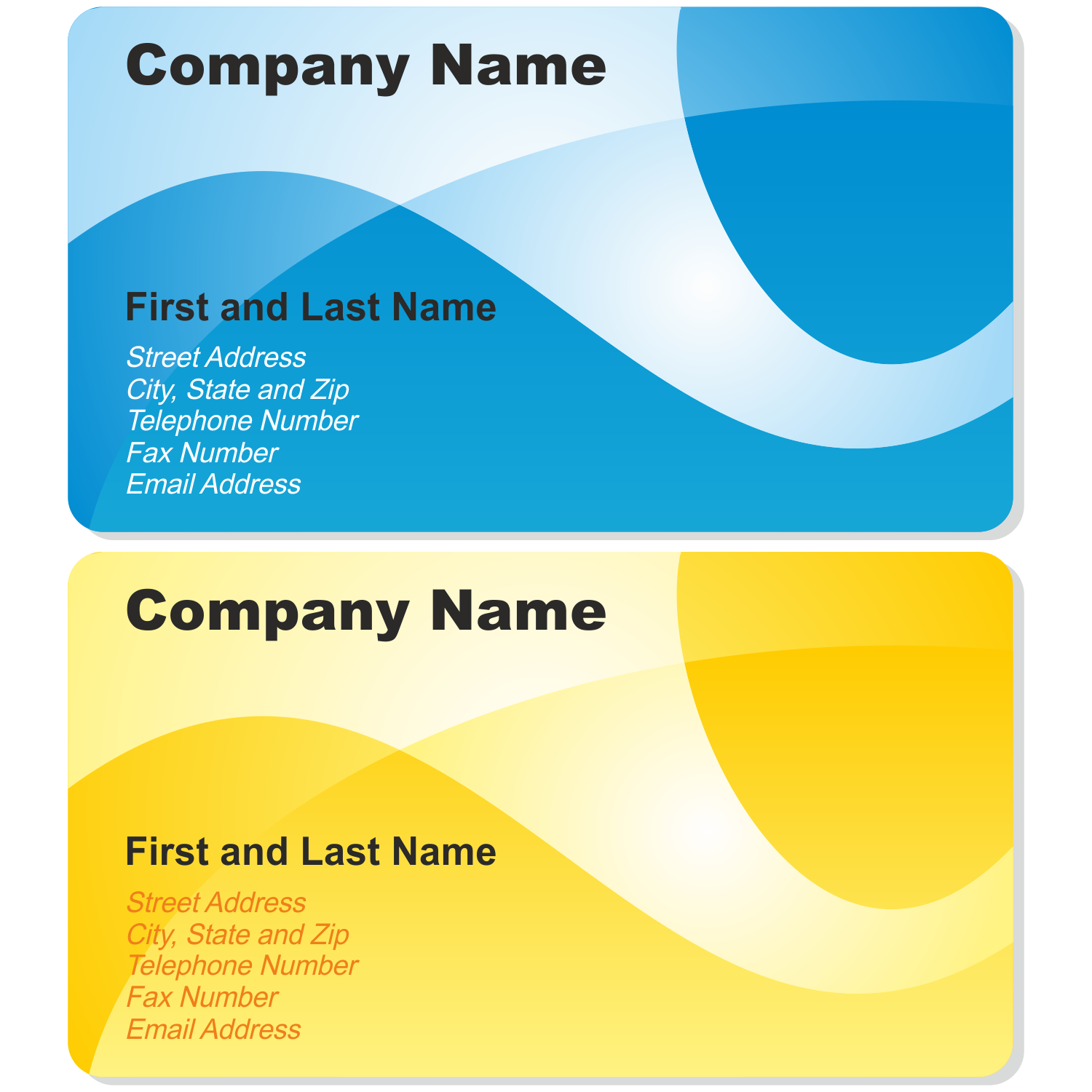 Vector For Free Use Blue And Yellow Business Cards - Calling card template free download