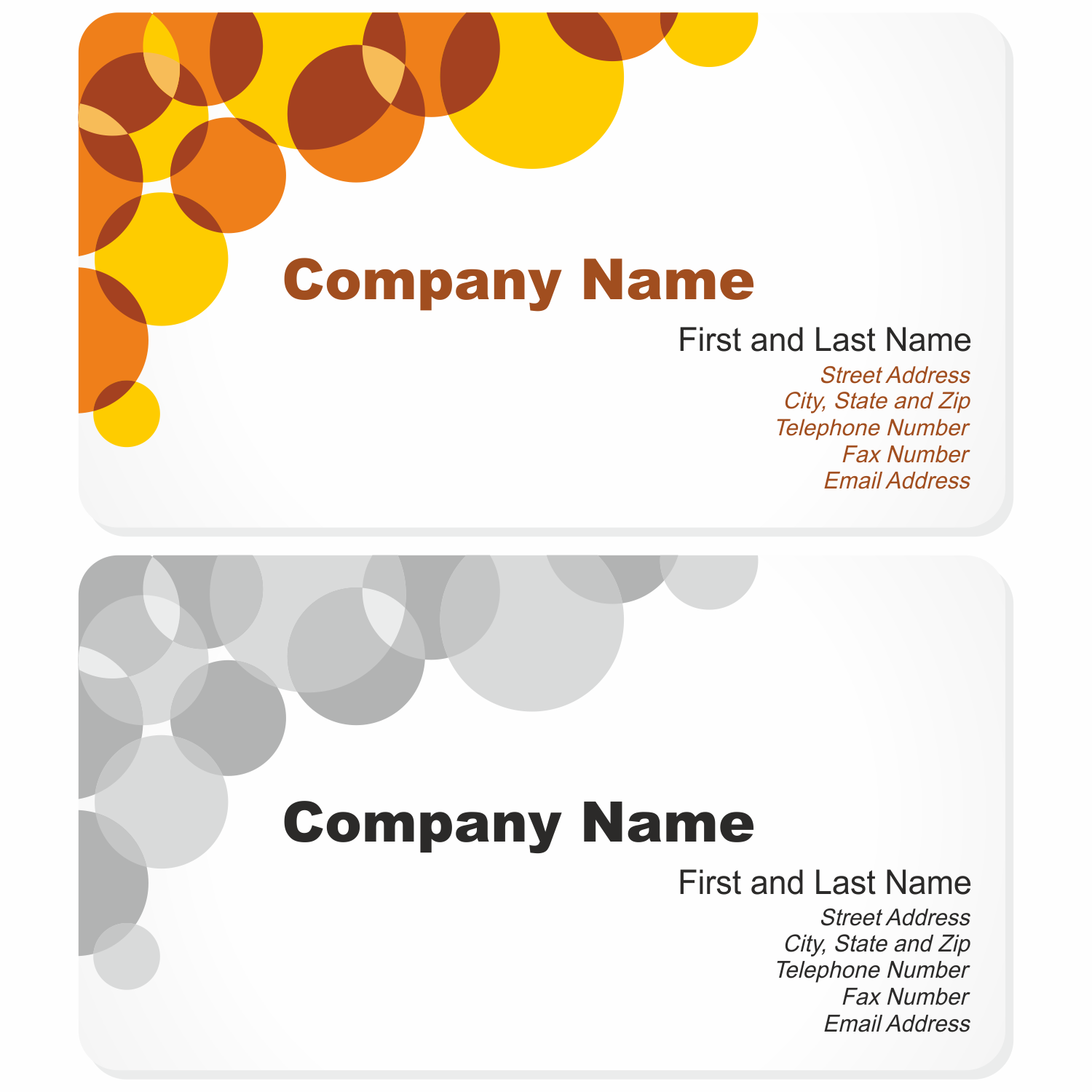 Vector for free use: Business Card with Bubbles