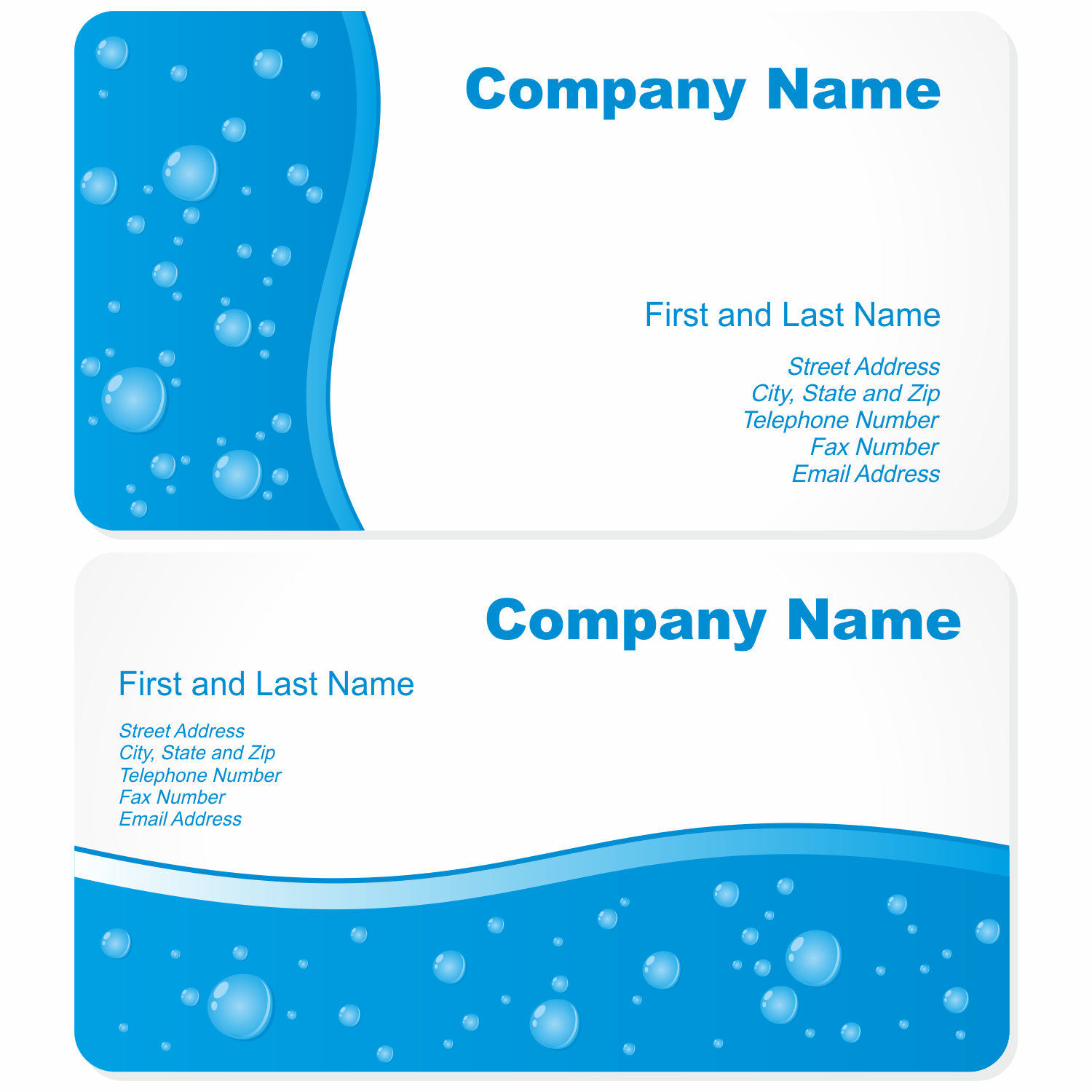 Vector for free use business cards with water drops for Business cards free templates