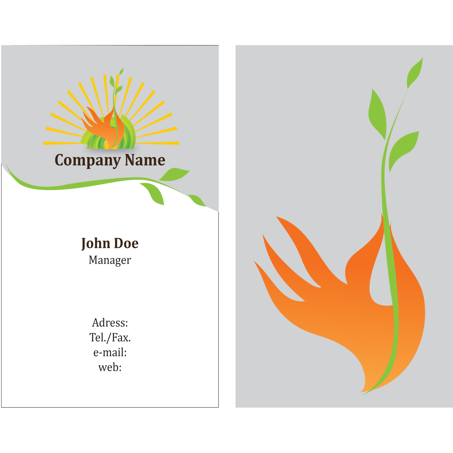 Vector for free use: Eco Friendly Business Card Template