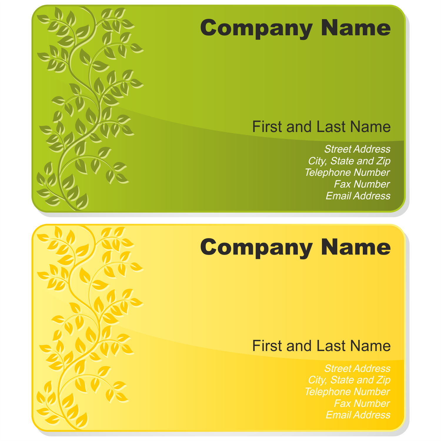 Vector For Free Use Floral Business Card Set - Calling card template free download