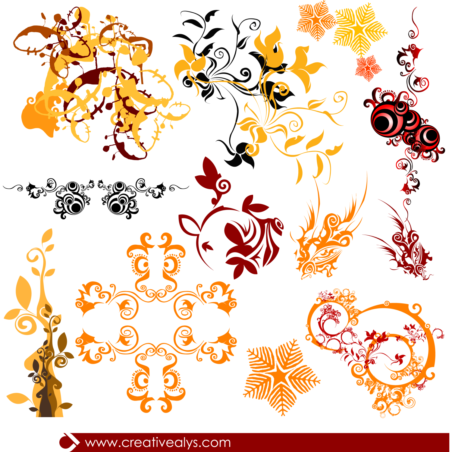 Beautiful swirls and florals to make your graphic designs more beautiful and appealing. You can use these in your web pages or blog themes.
