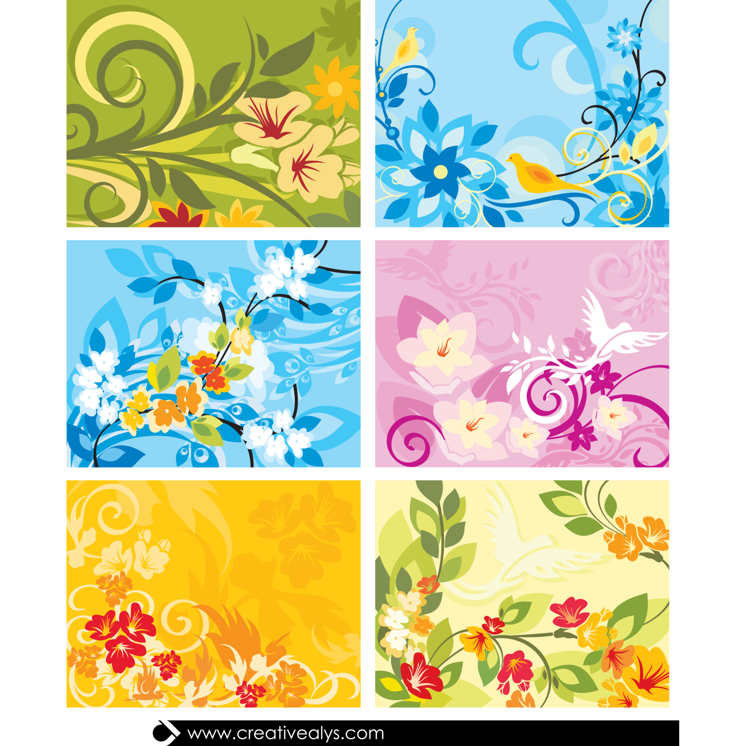 Vector For Free Use Beautiful Floral Background Set