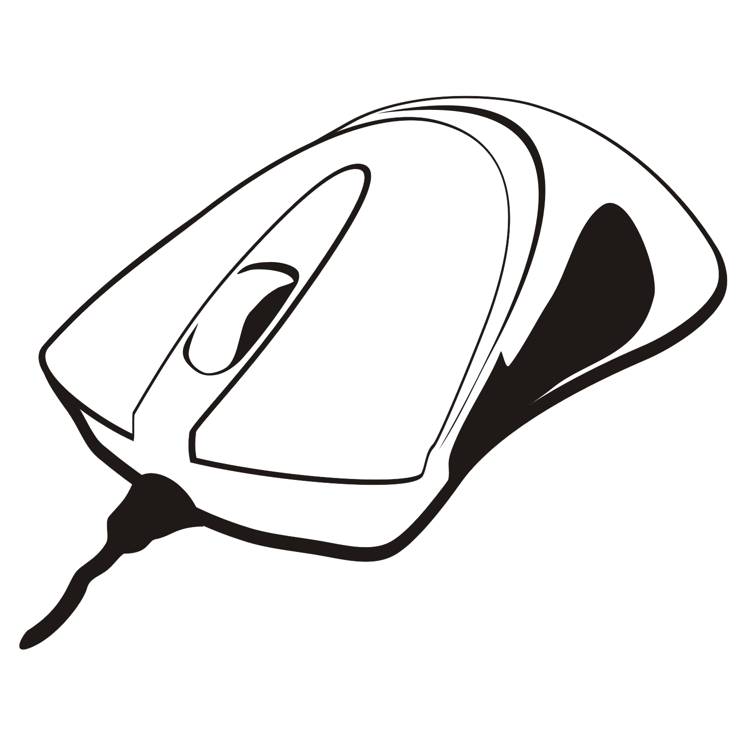 Black and white illustration of a computer mouse