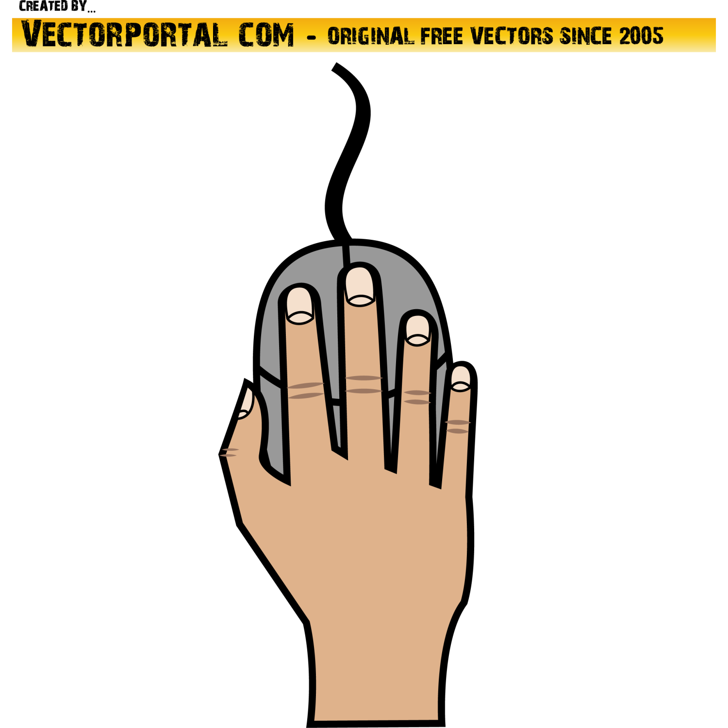 PC mouse in hand vector graphics.