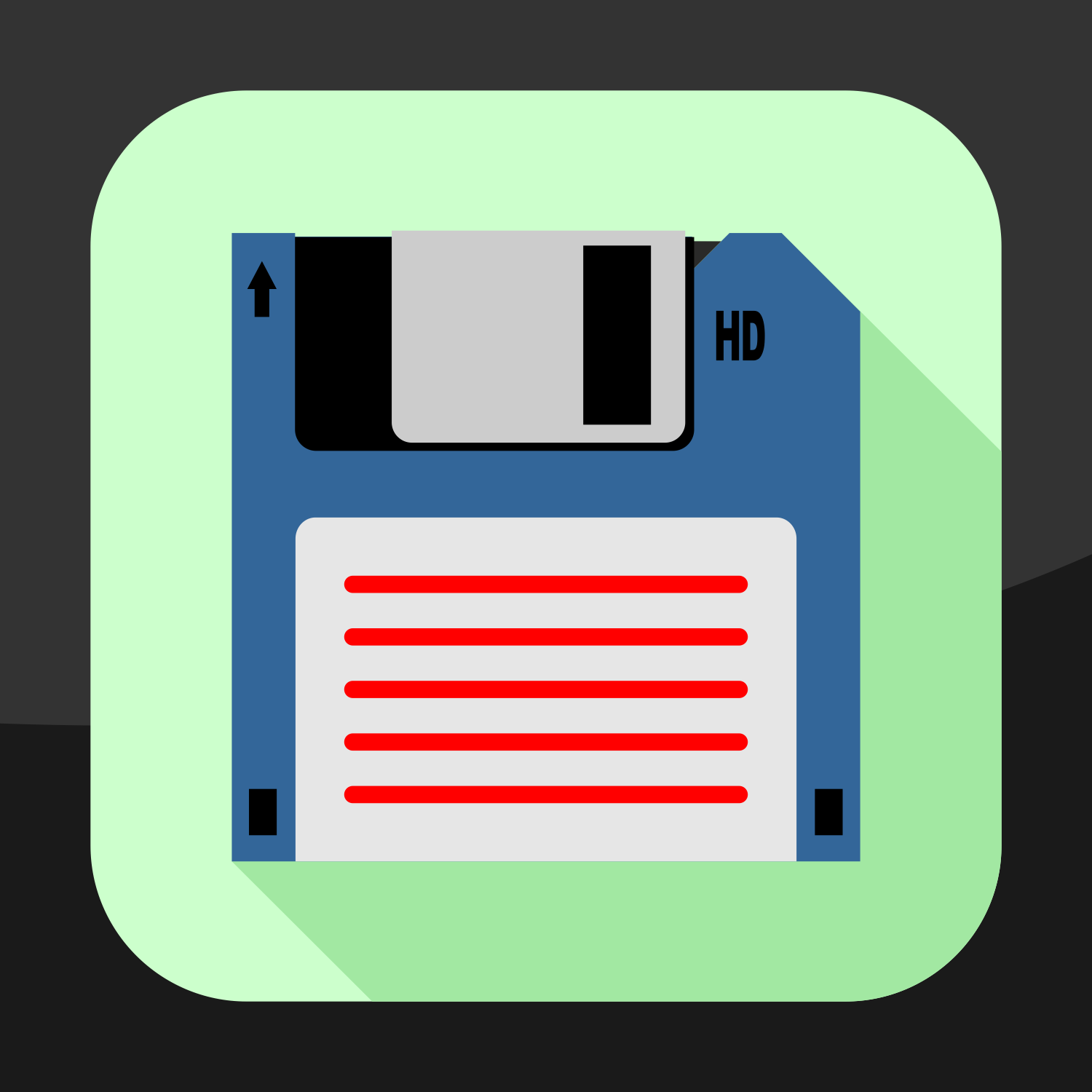 Vector for free use: Flat floppy disk icon
