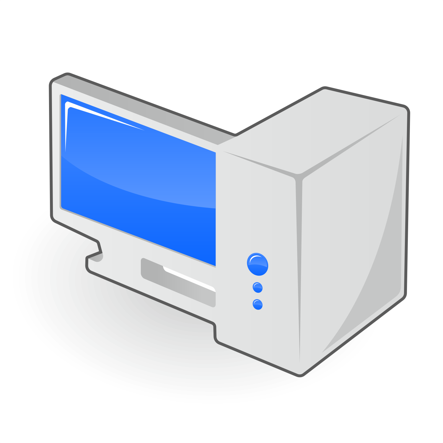 Computer with blue display. Vector icon.