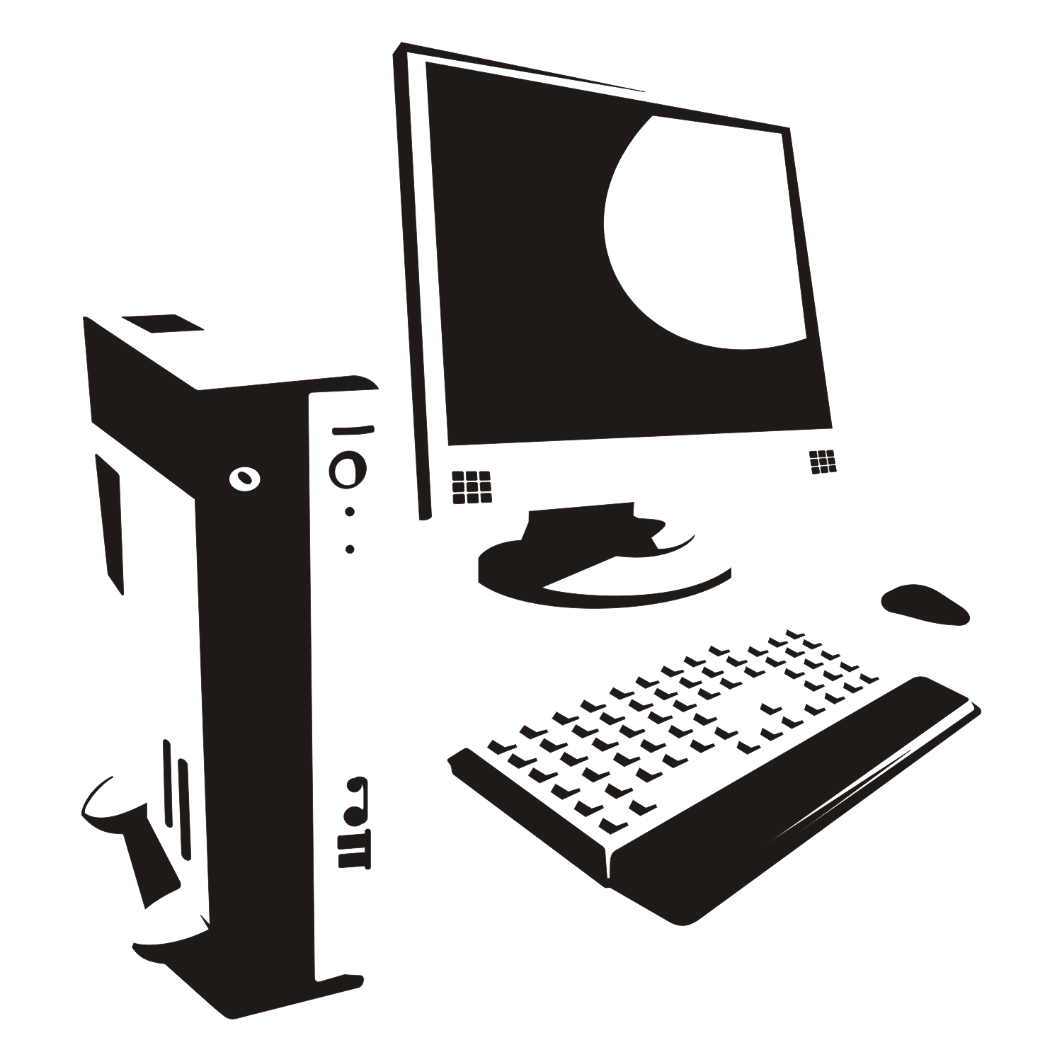 Computer silhouette. Vector illustration.