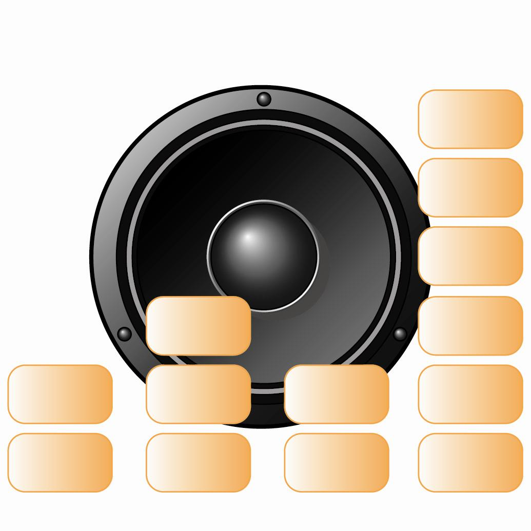 Round speaker illustration on a white background
