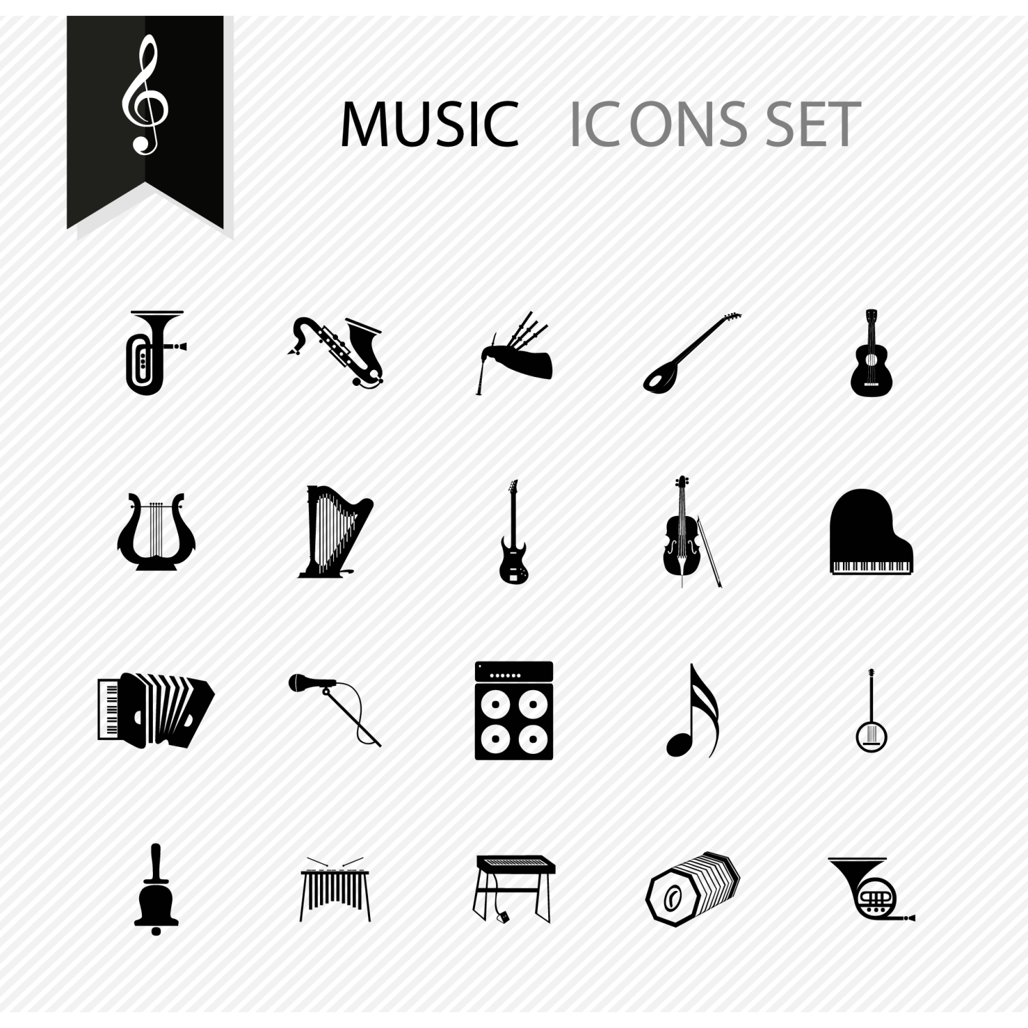 Set with a lot of black and white sport icons: guitar, violin, piano, microphone and more, etc