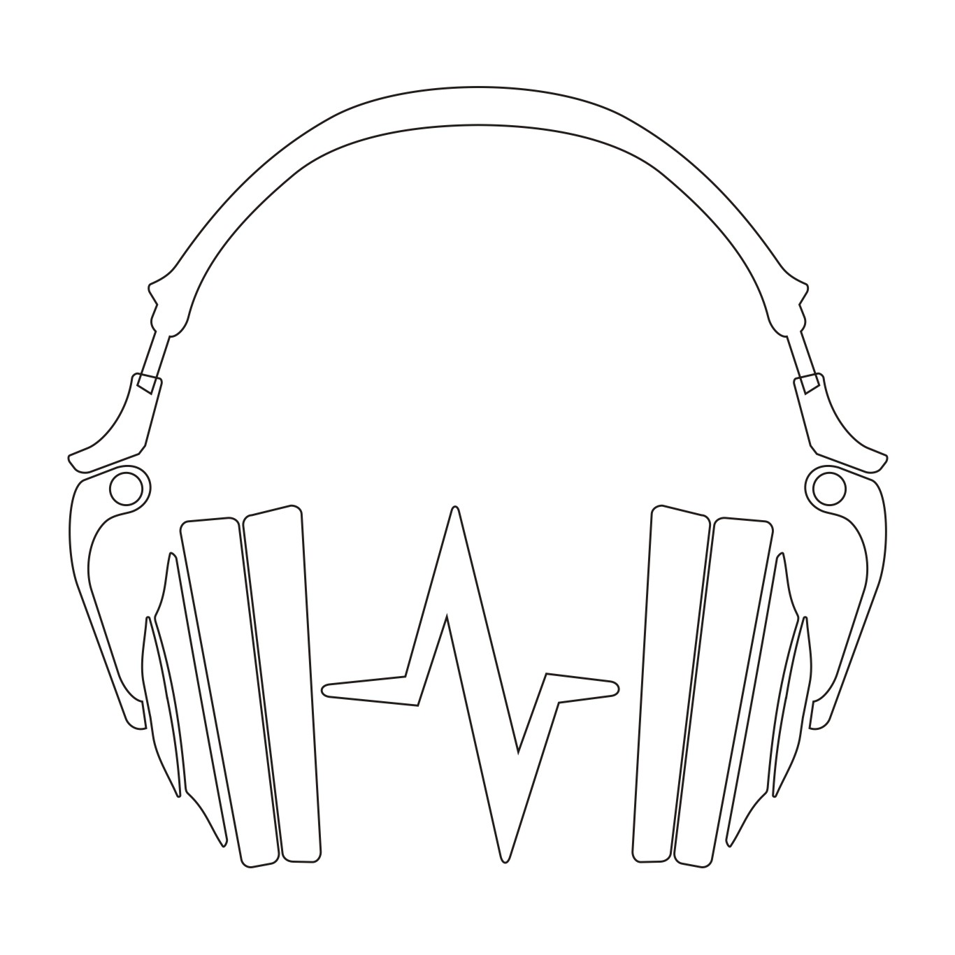 Line Art Headphones : Vector for free use audio headphones