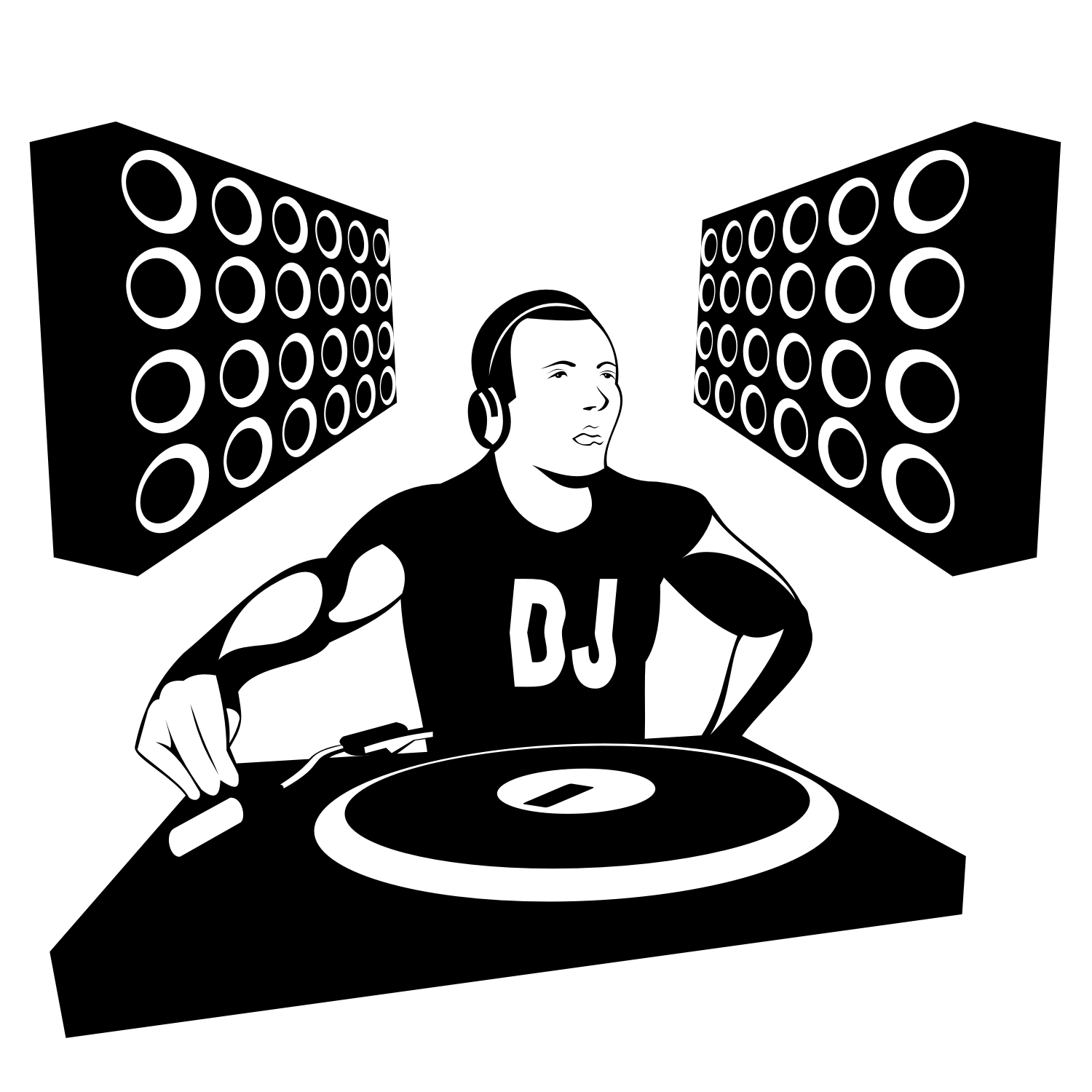 Vector Illustration Of A DJ Playing Music.