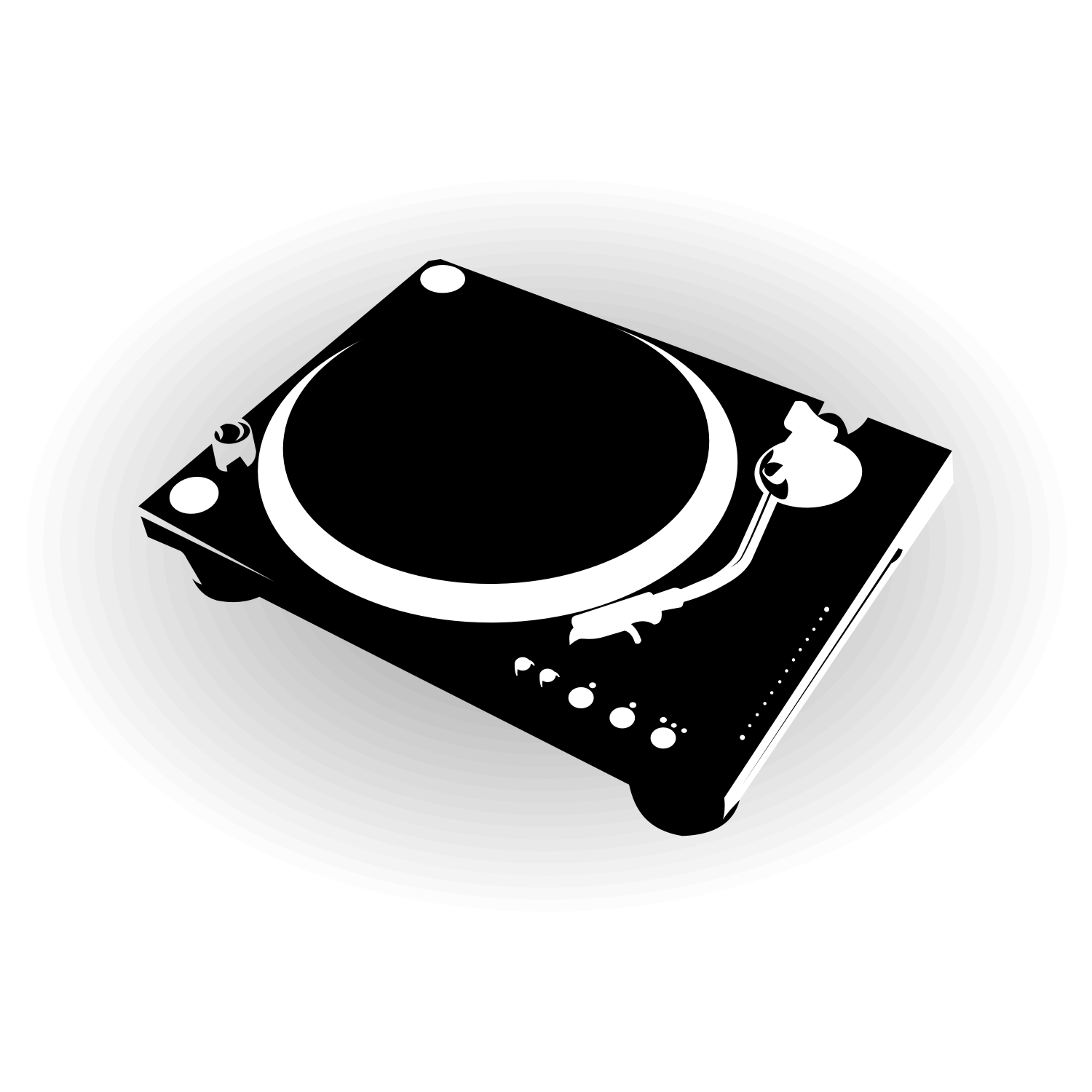 Dj turntable silhouette vector image.