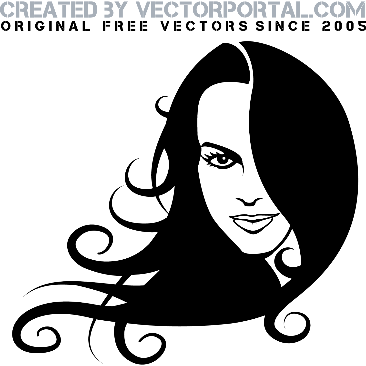 Girl with long black hair vector