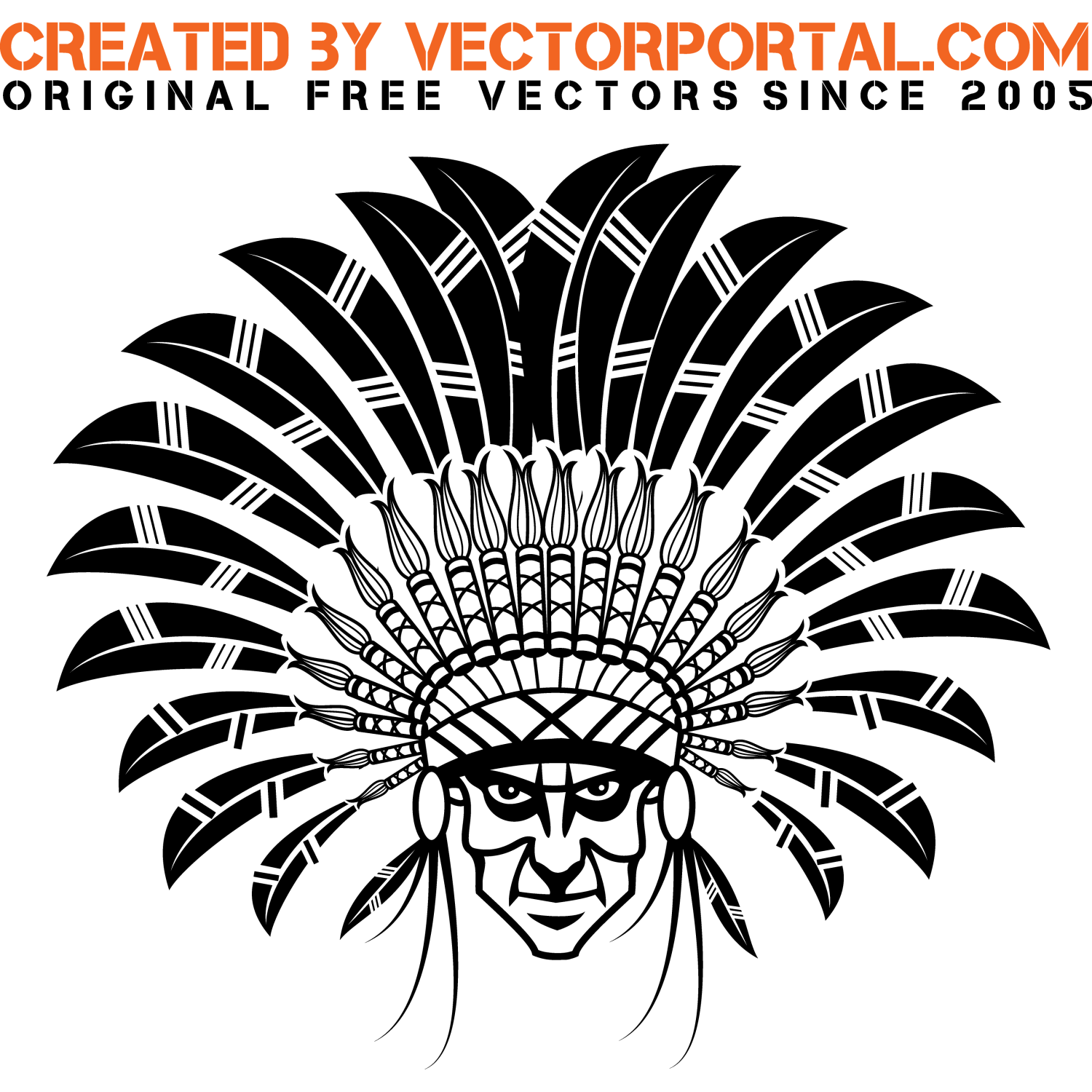 Illustration of American Indian Chief with a big feather headdress