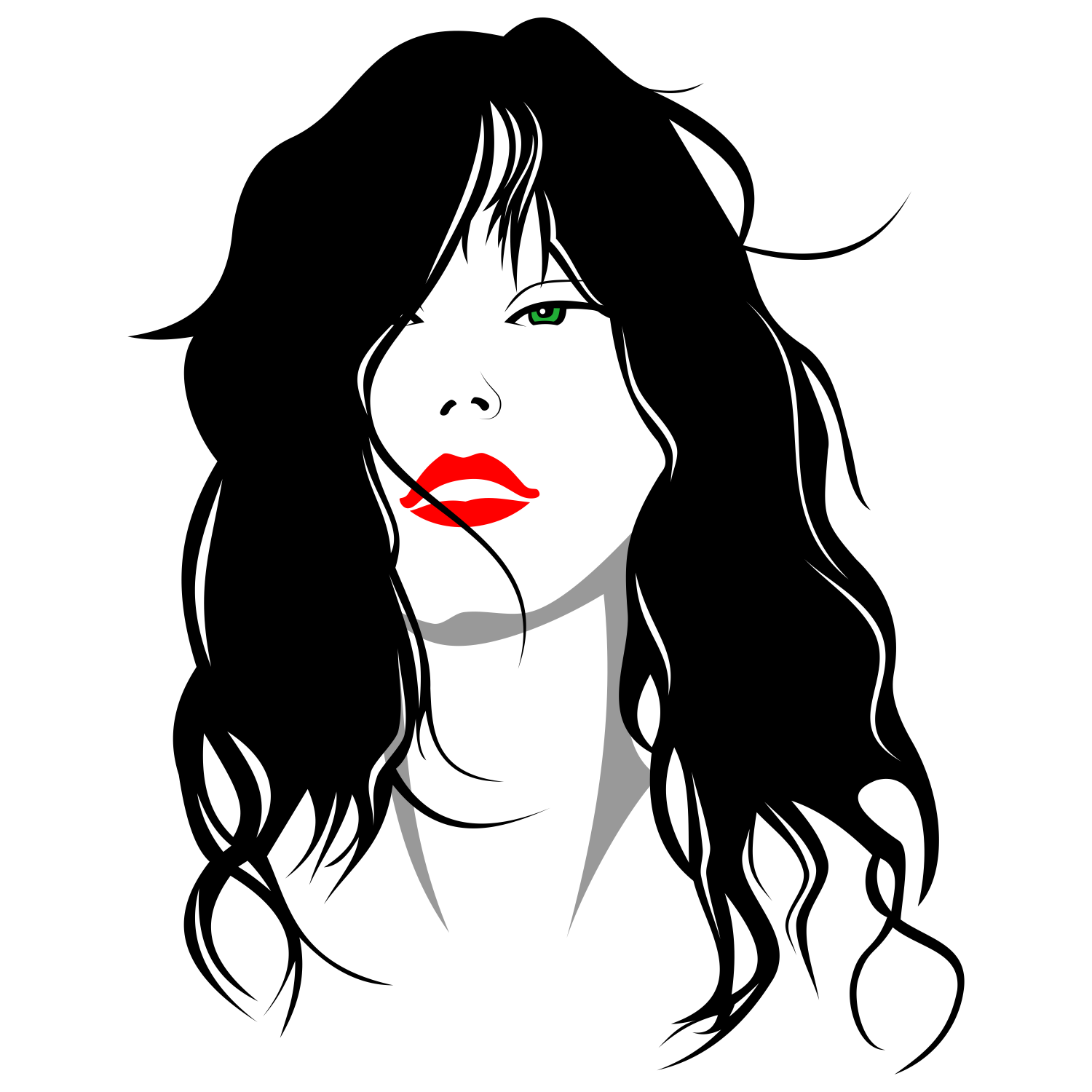 vector for free use woman with her hair