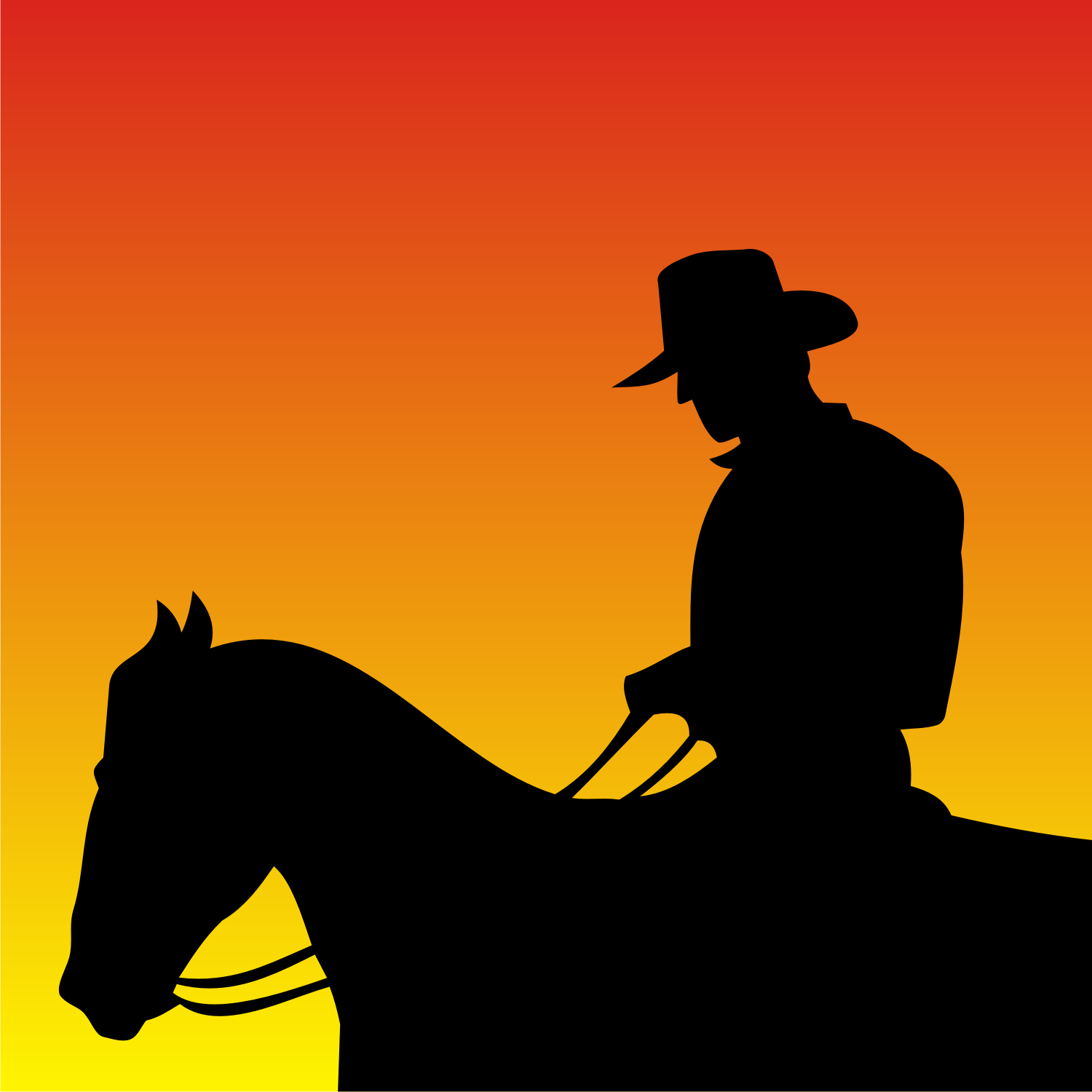 Black Silhouette Of A Cowboy. Vector illustration.