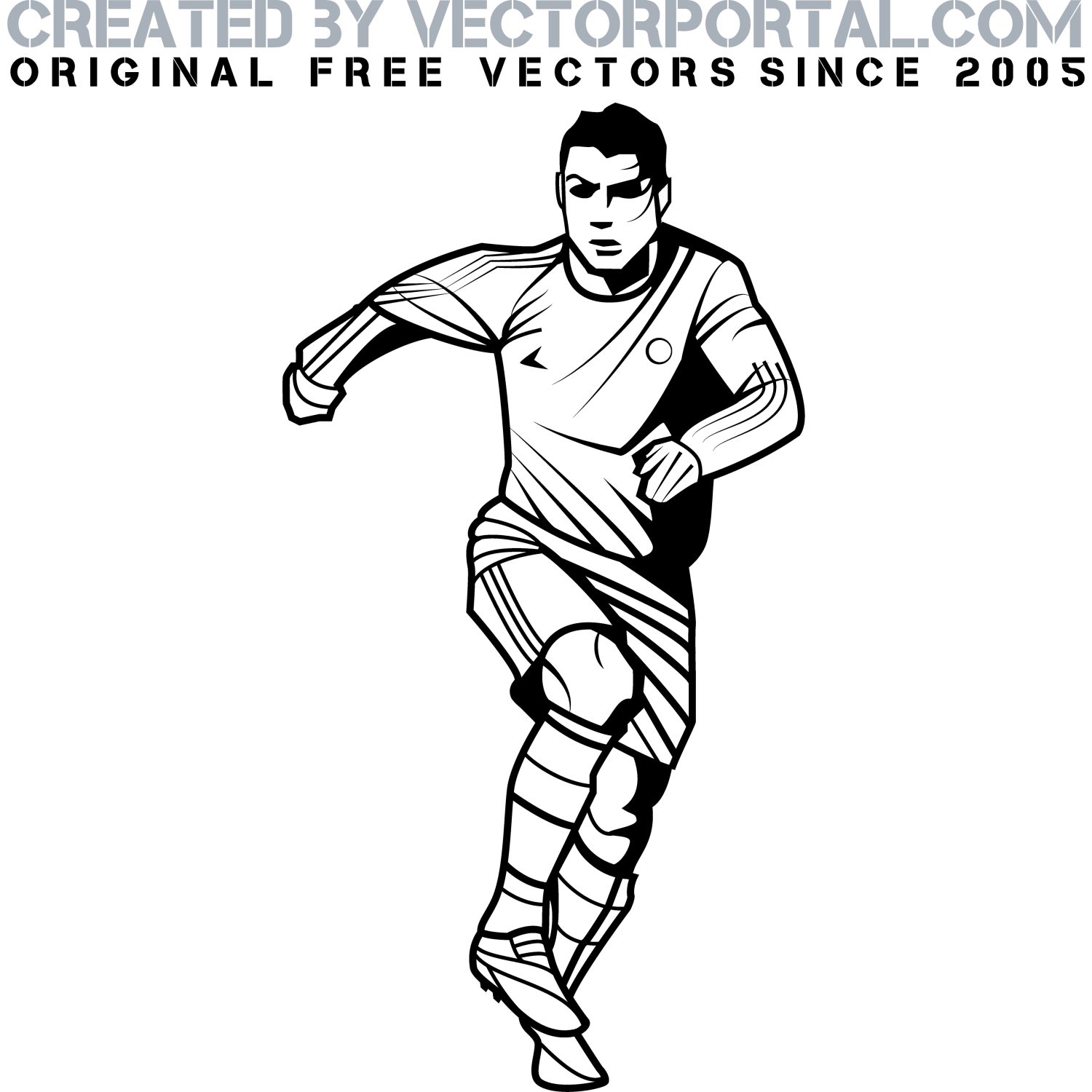 Vector illustration of a football player in action. Image of a footballer playing with ball