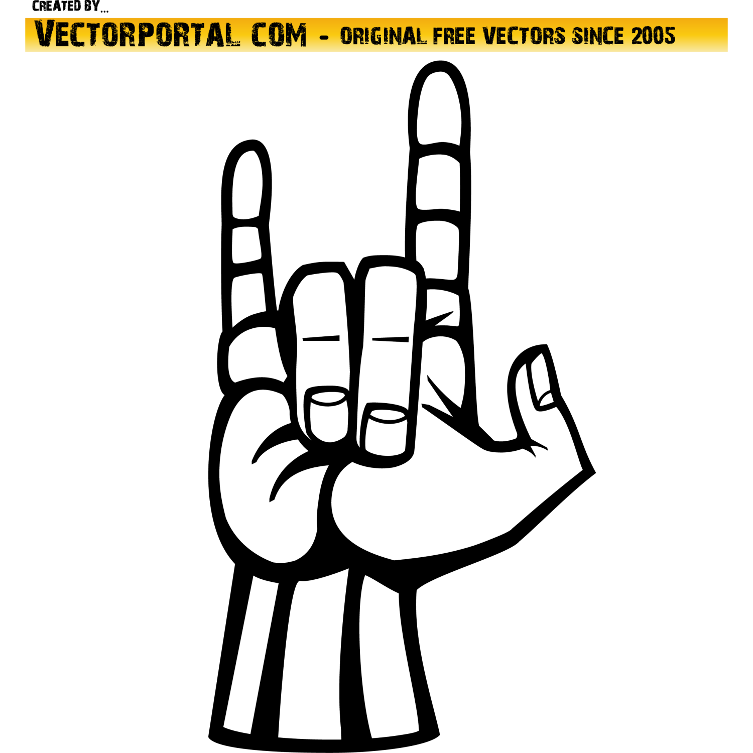 Rock and roll hand sign vector.