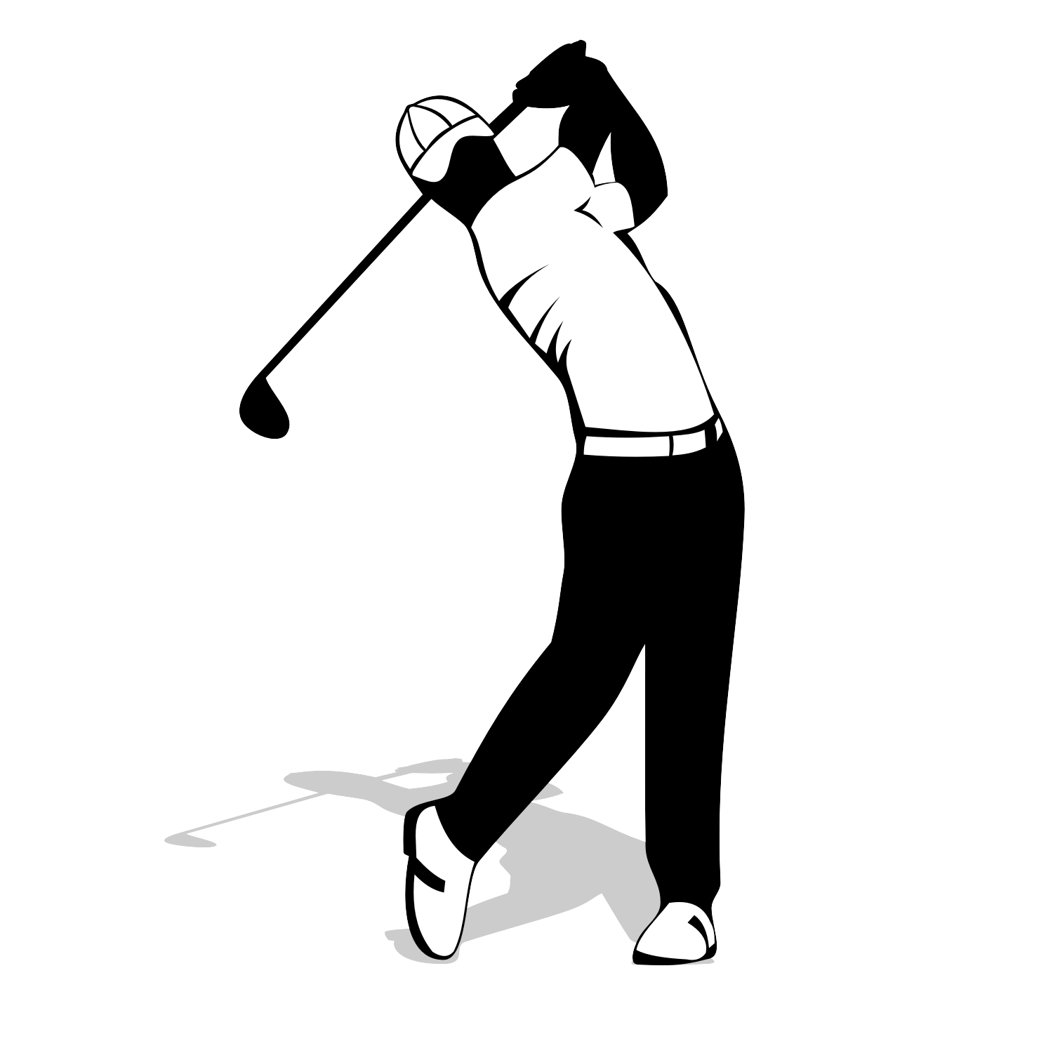 Golf player silhouette. Free vector illustration