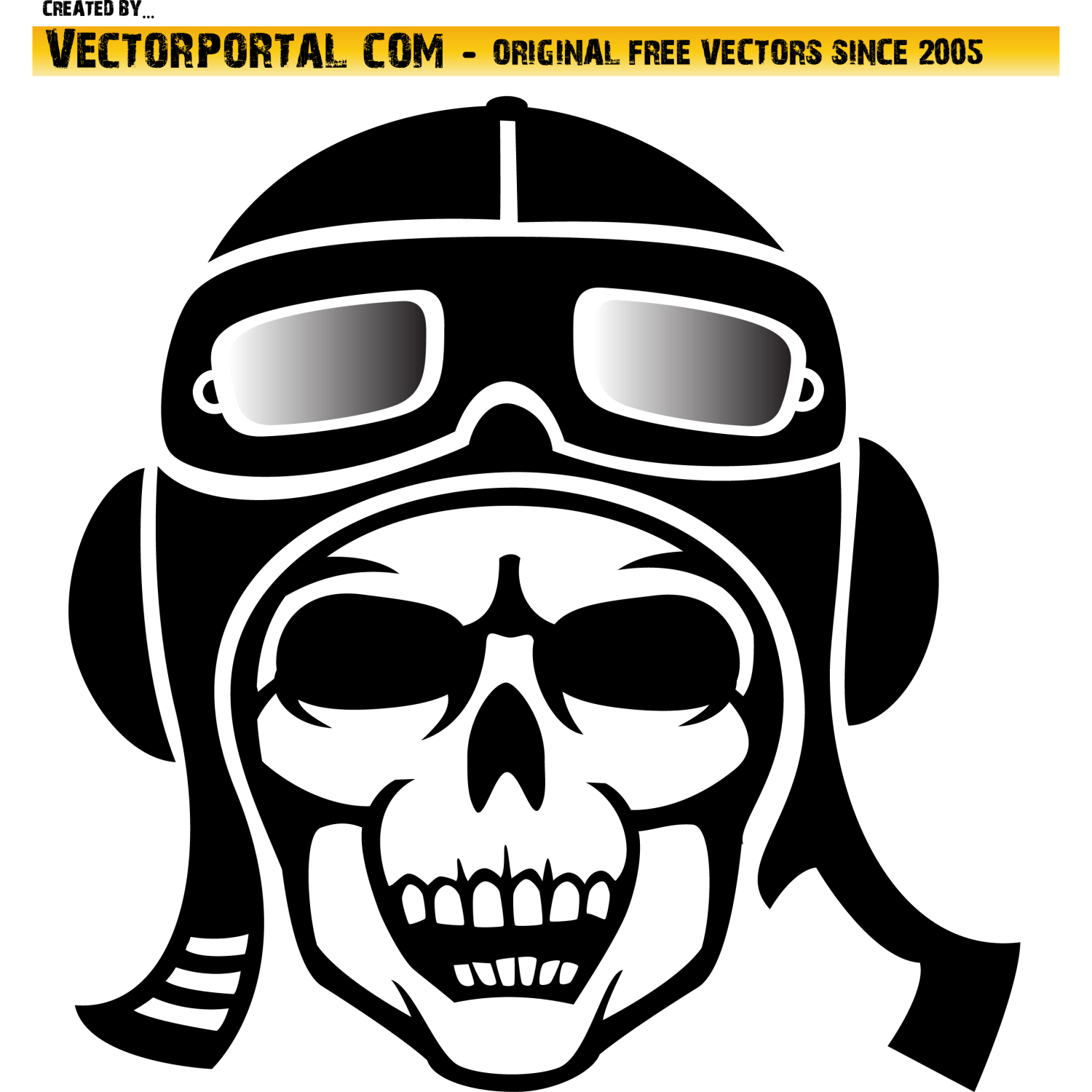Skull With Leather Hat Vector