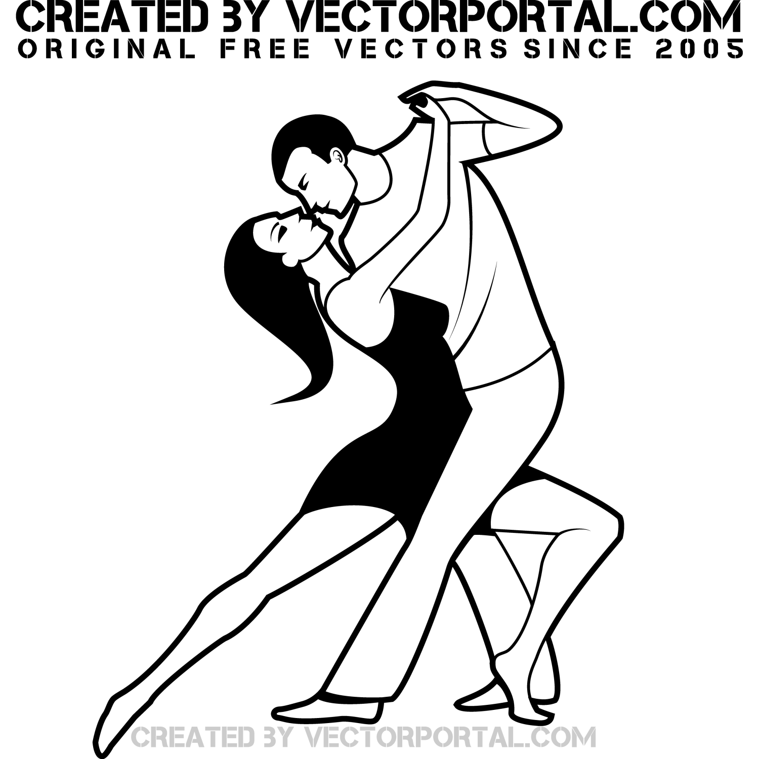 Black and white vector graphics of a man and woman dancing to the music