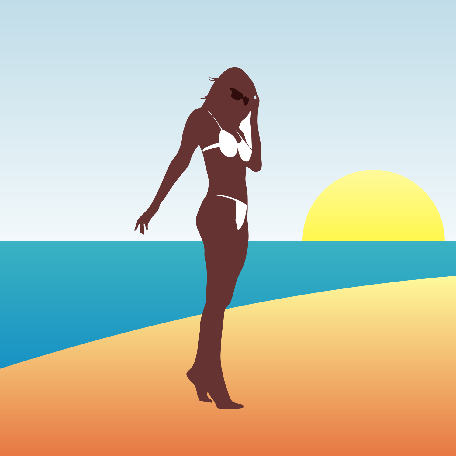 Woman on a beach vector