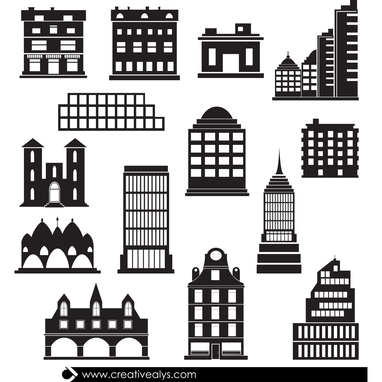 Here is a great silhouettes collection of 14 vector buildings available for free download. The vector buildings can be used as icons in web pages or apps and can be used in logo designs and other designs. Get a full collection of 50+ Vector Buildings. Download, enjoy and share having this great vector resource