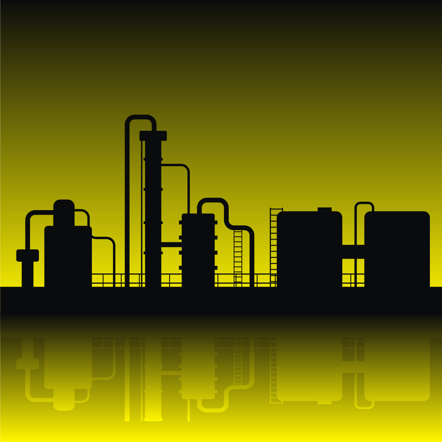 Oil refinery silhouette. Free vector image