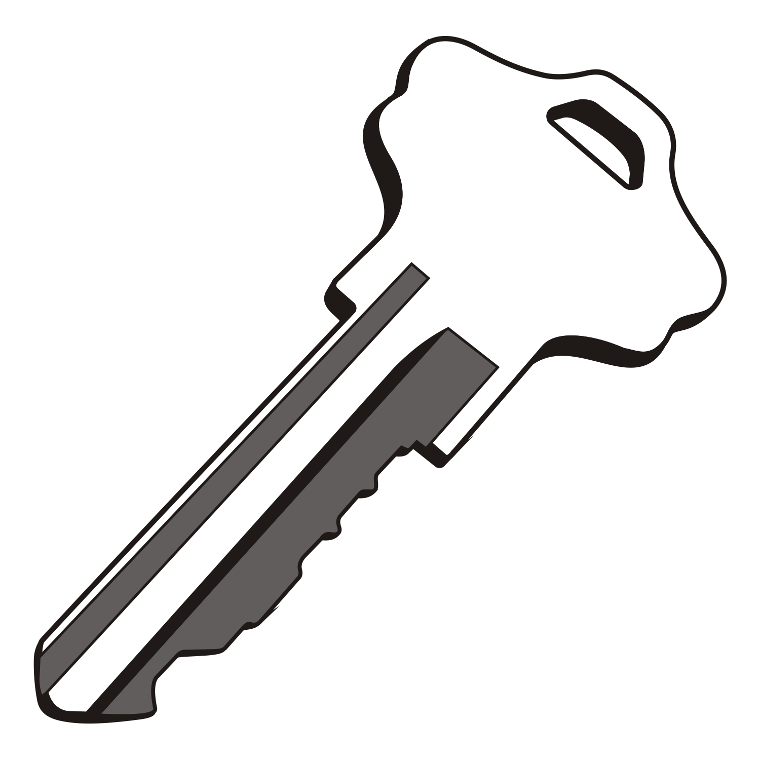A vector black and white illustration of a key