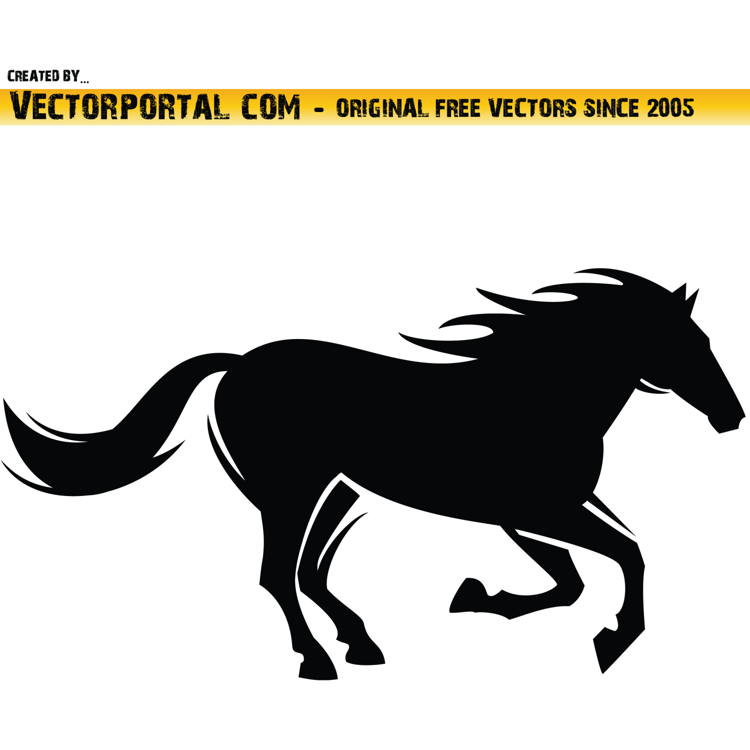 Black horse vector image.