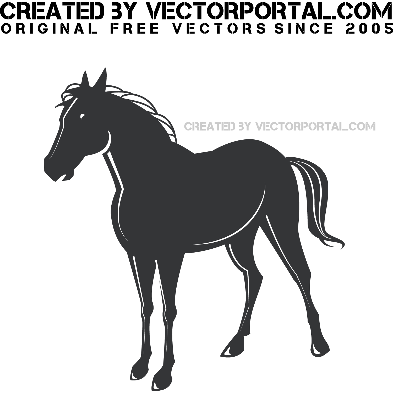 Vector illustration of a black horse