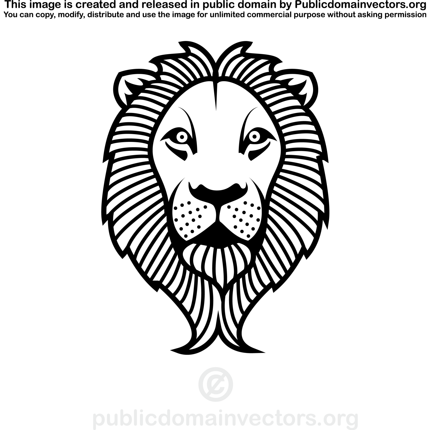 Outline vector image of a lion