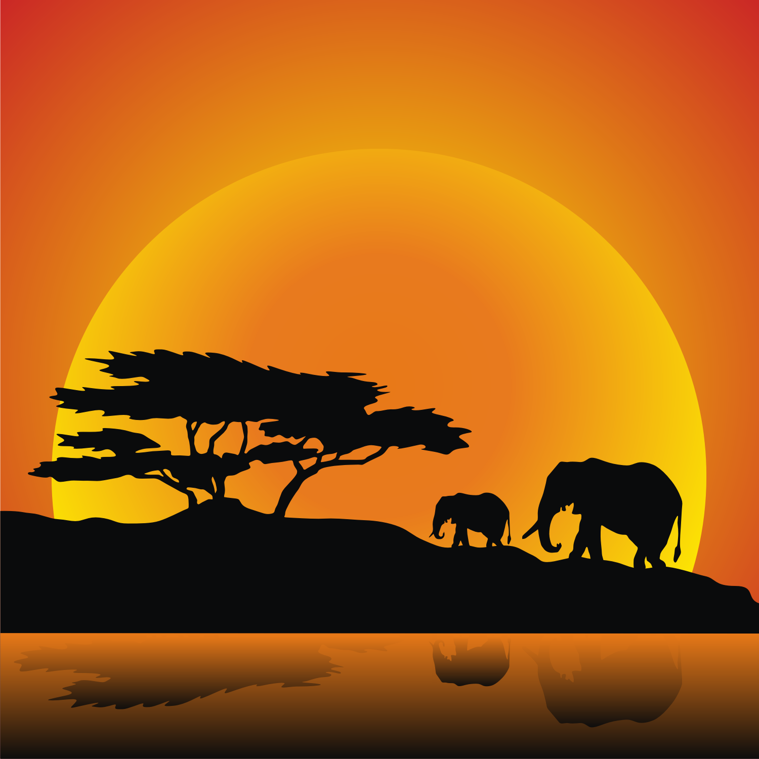 Vector For Free Use Elephants Family