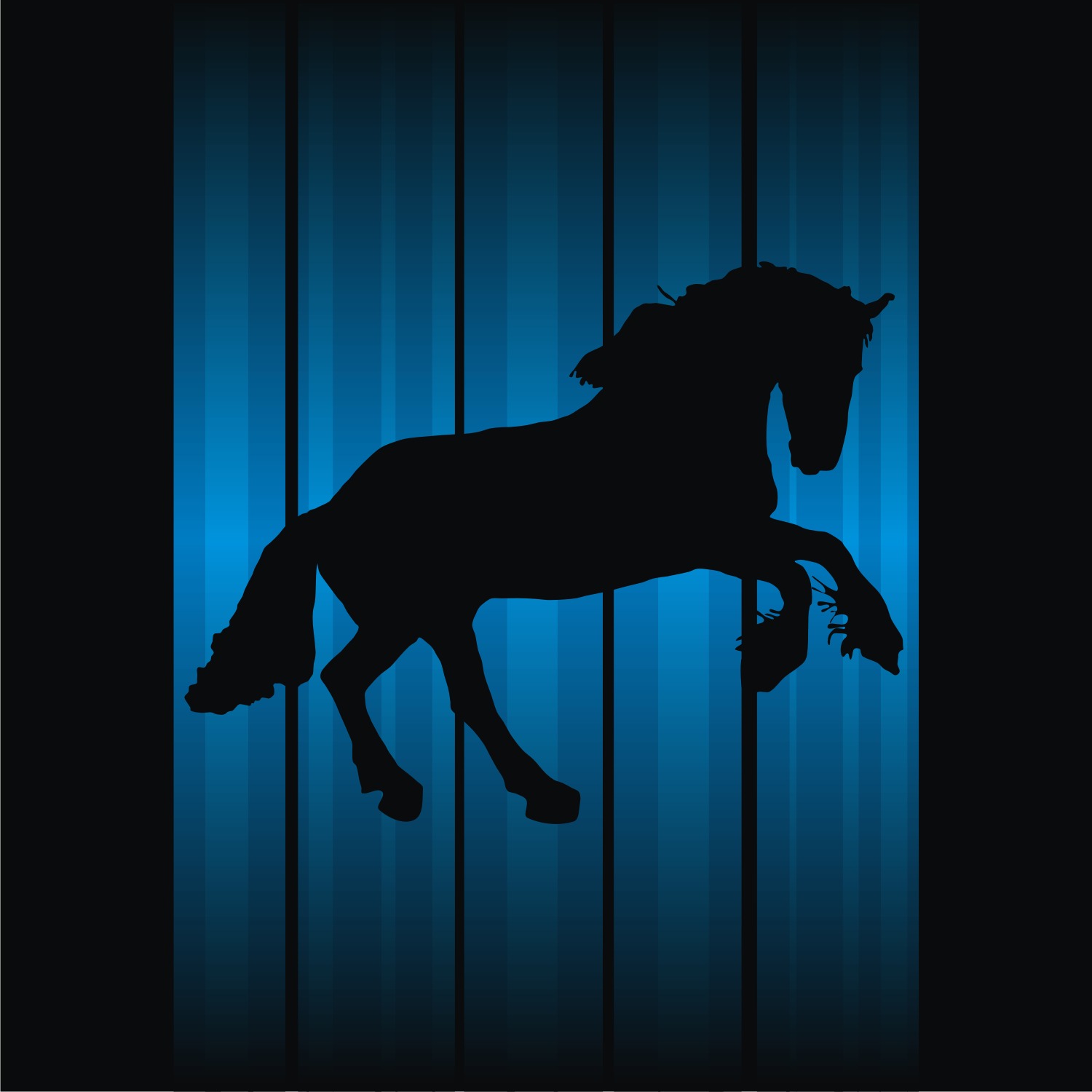 Horse silhouette on abstract background. Free vector illustration