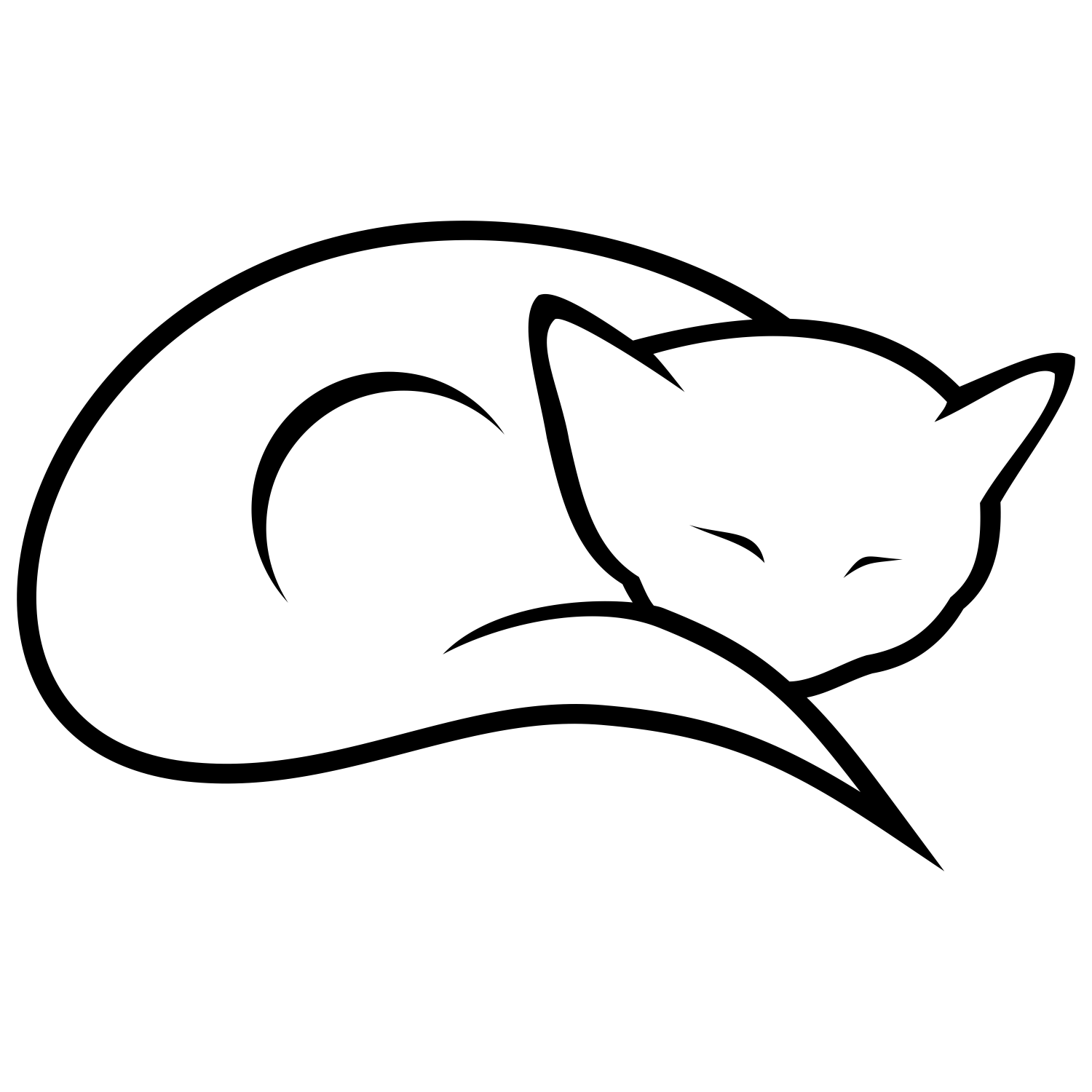 how to draw a kitten sleeping