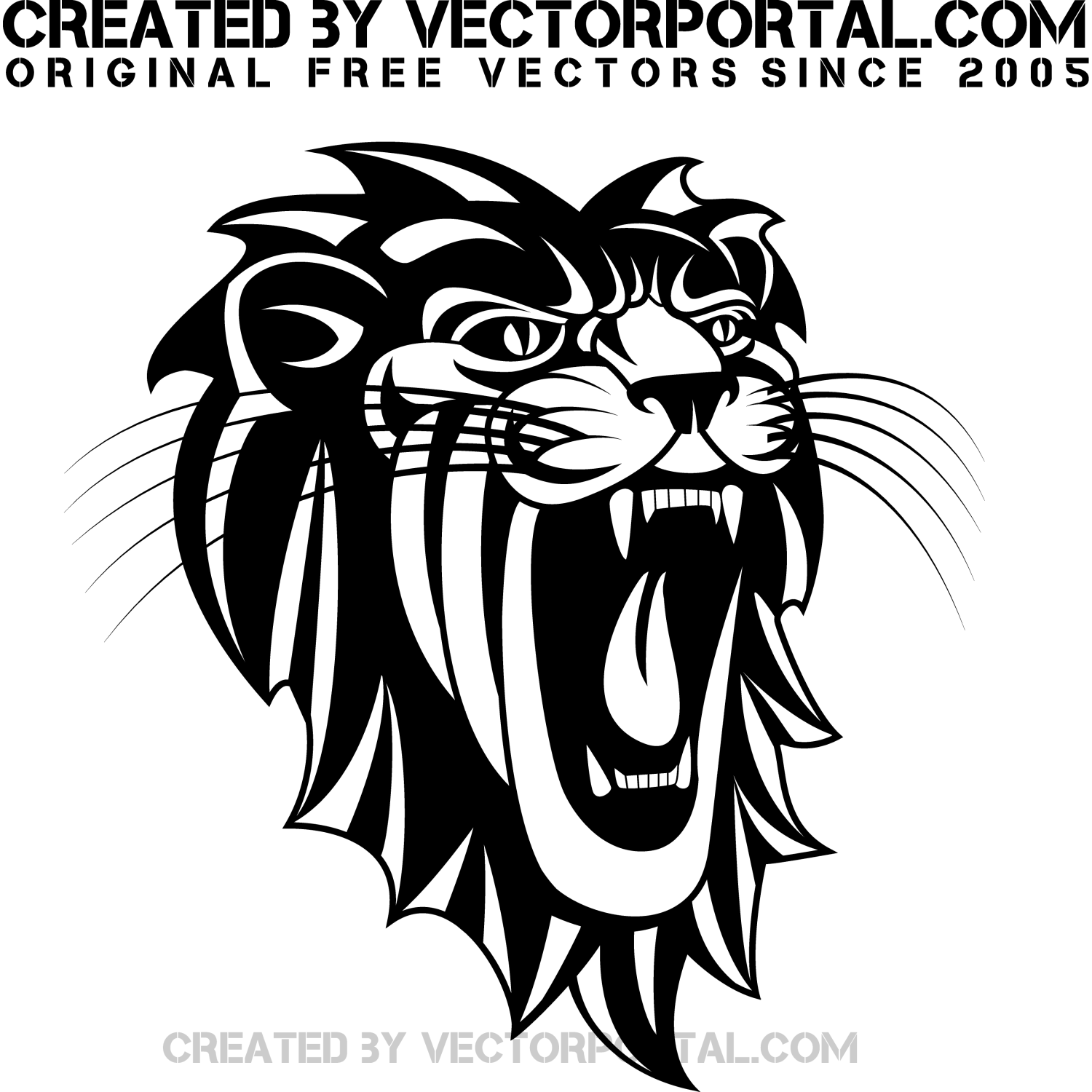 Black and white vector illustration of a roaring lion
