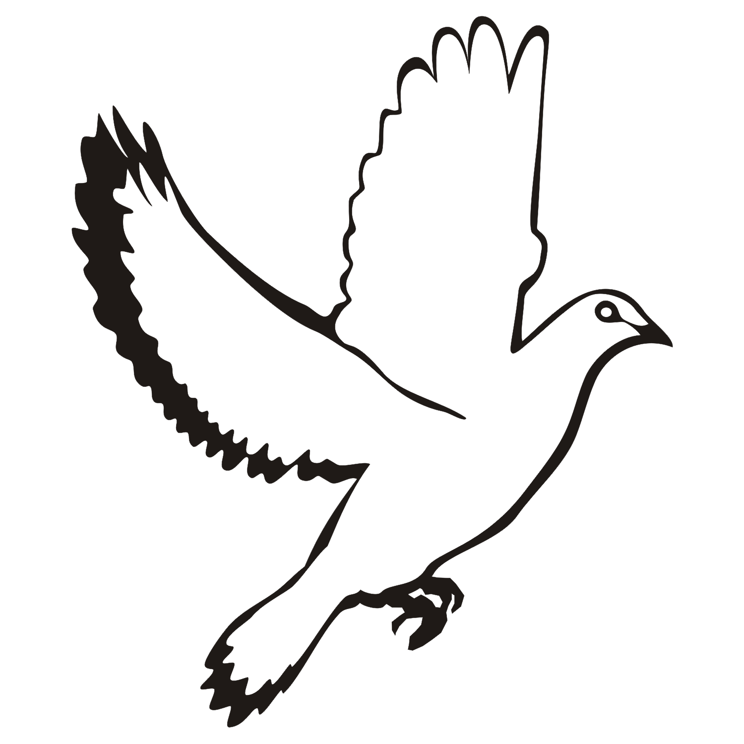 A free flying dove isolated on a white background. Free vector illustration.